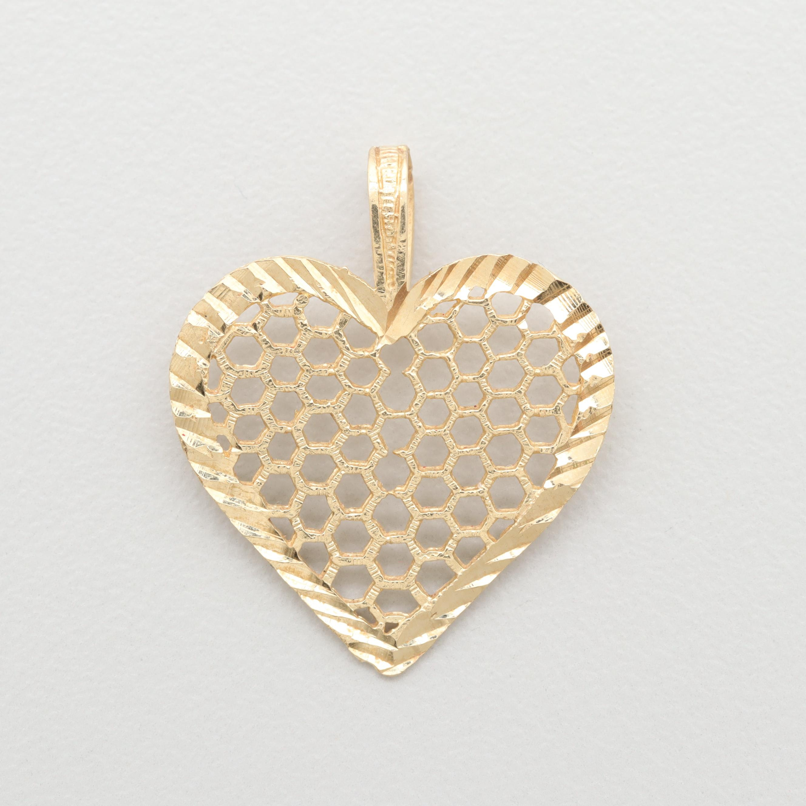 14K Yellow Gold Diamond Cut and Openwork Heart Pendant