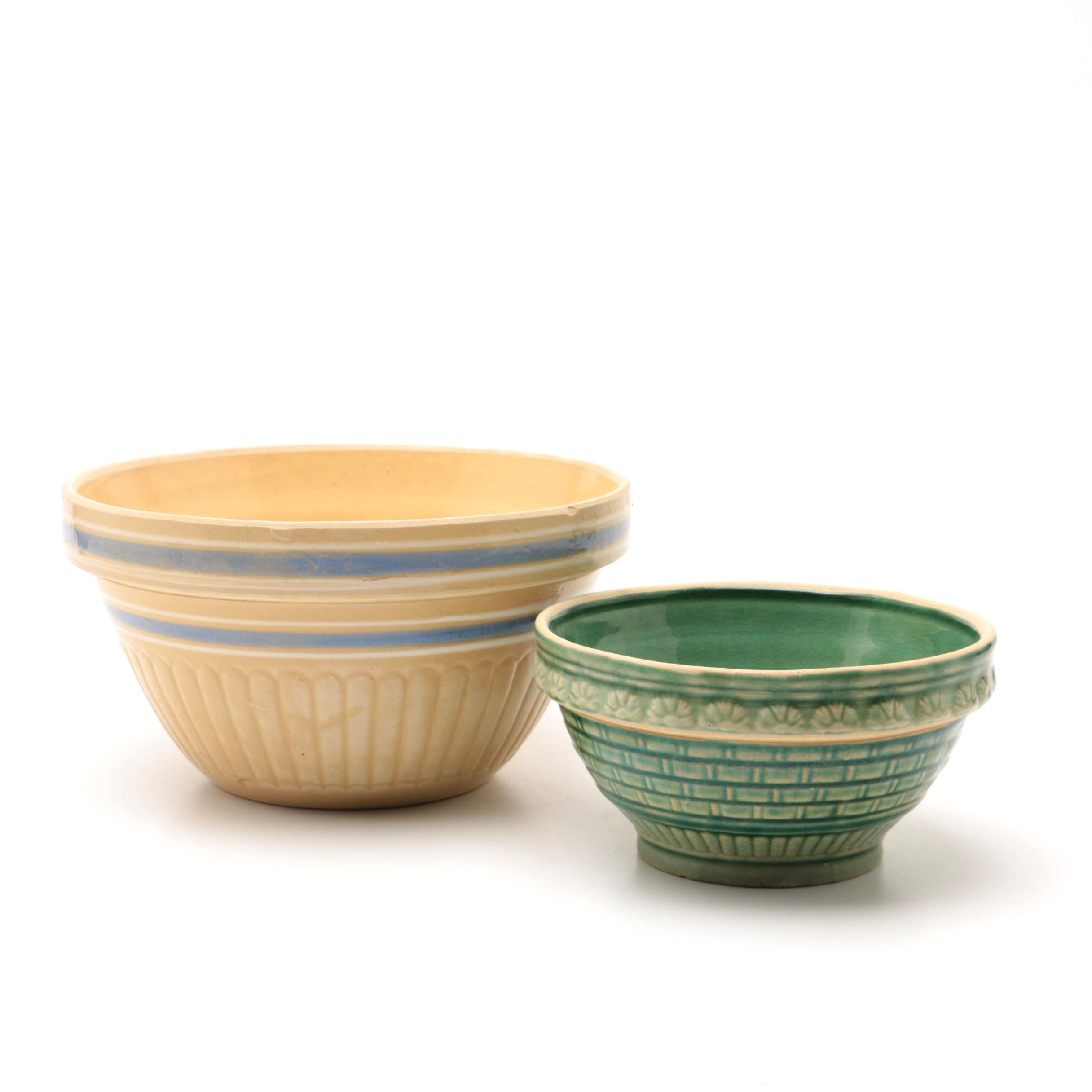 Vintage Yellow Ware Mixing Bowls including Robinson Ransbottom