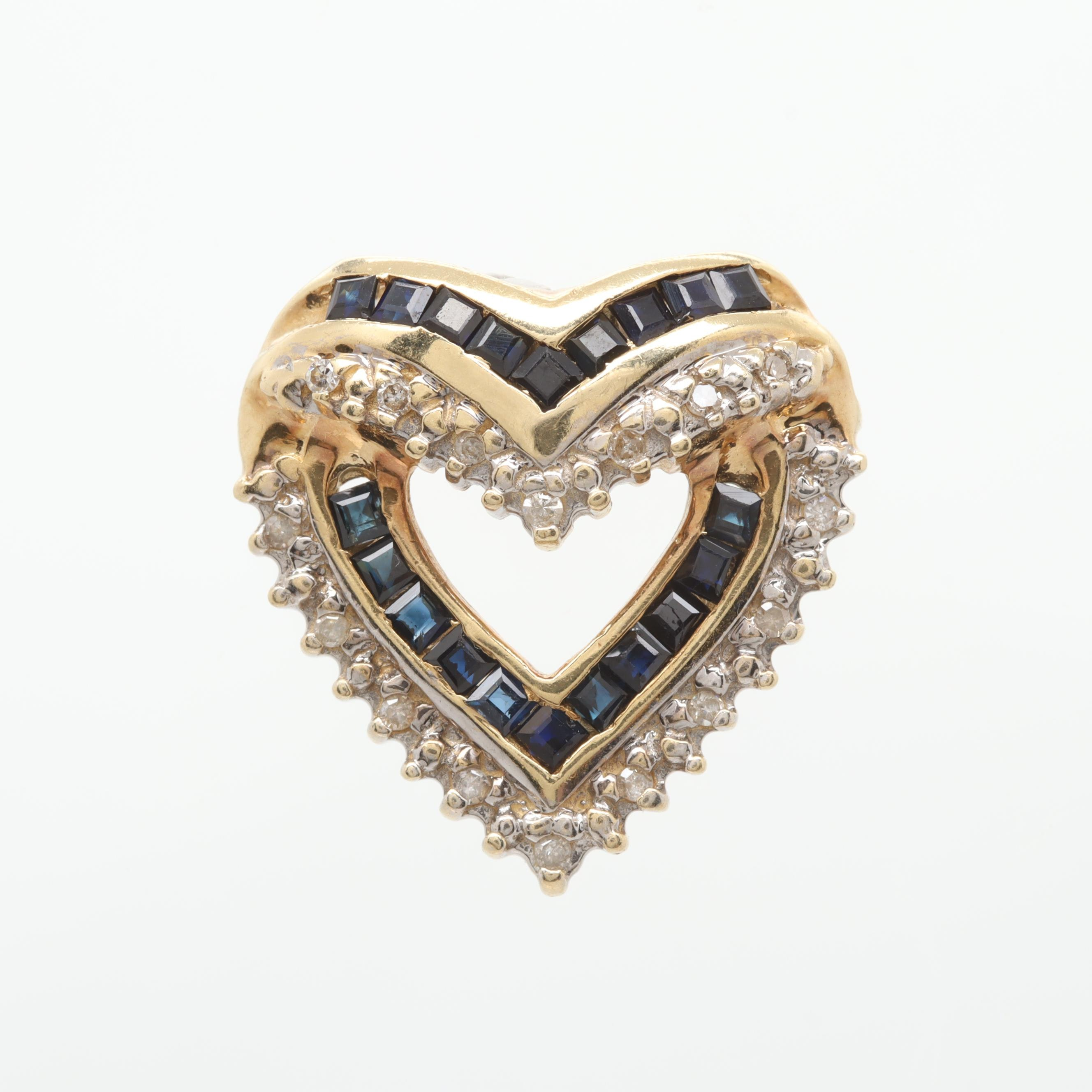14K Yellow Gold Diamond and Sapphire Heart Slide Pendant