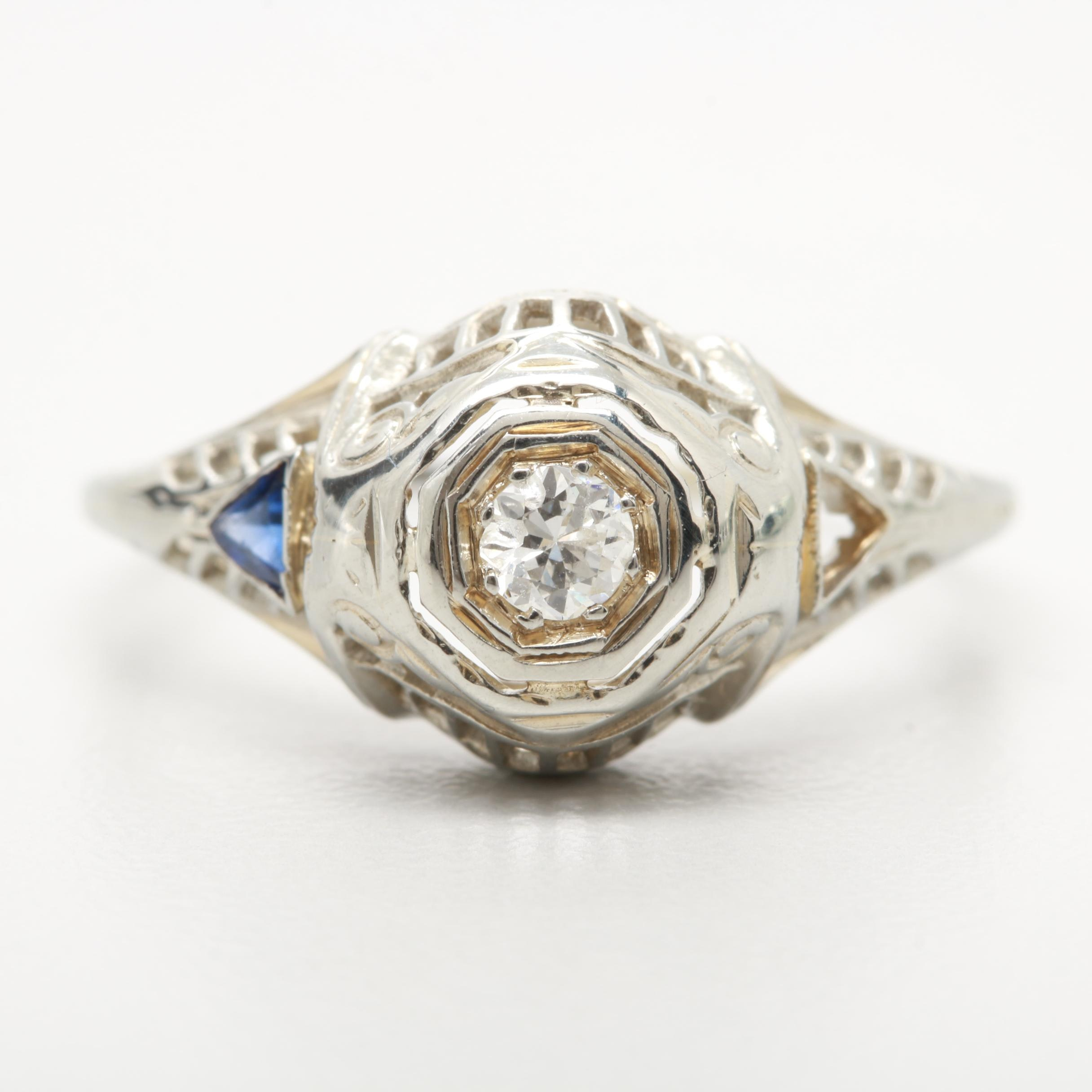 18K White Gold Diamond and Synthetic Sapphire  Ring