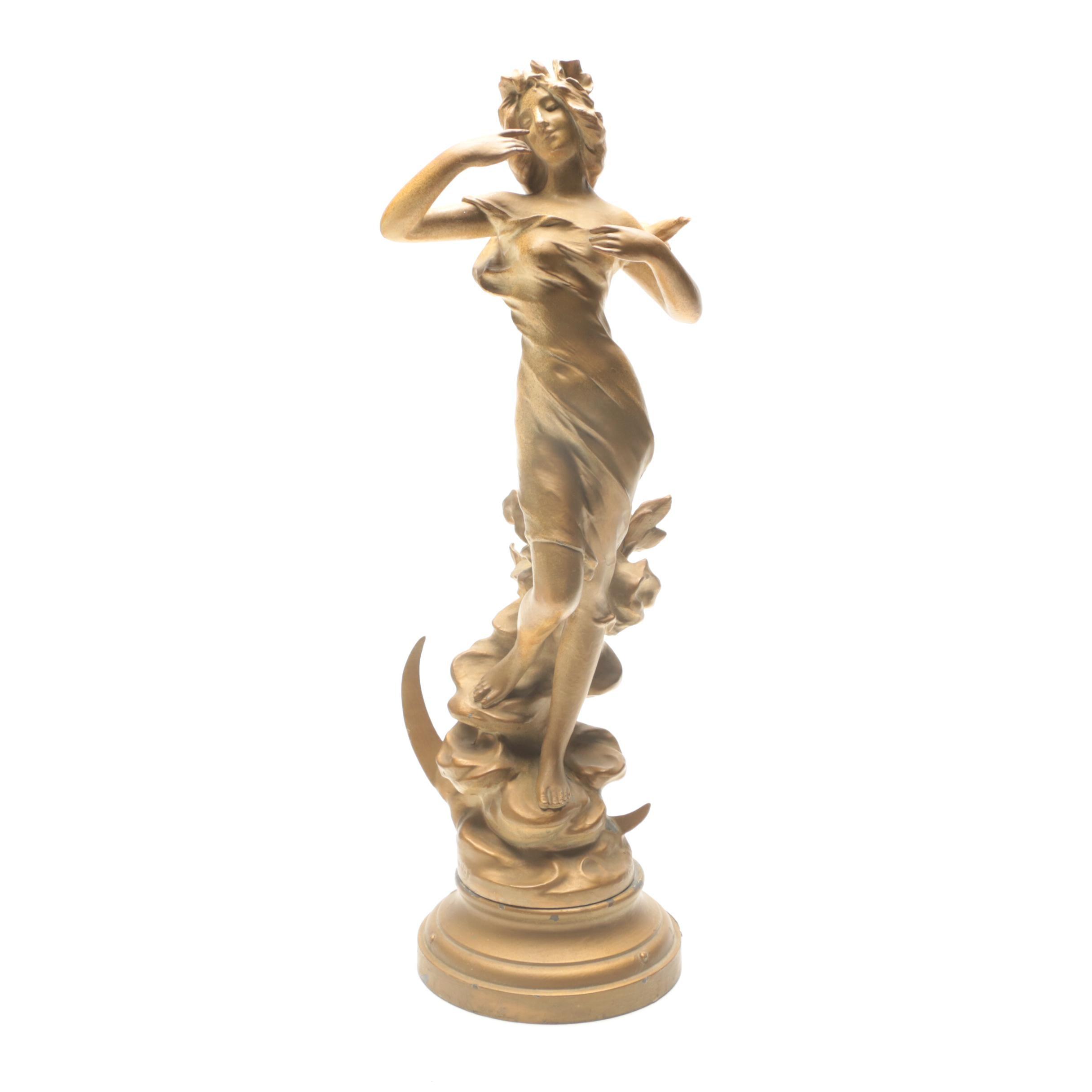 Signed Art Nouveau Recast Statue After Julian Causse Sculpture