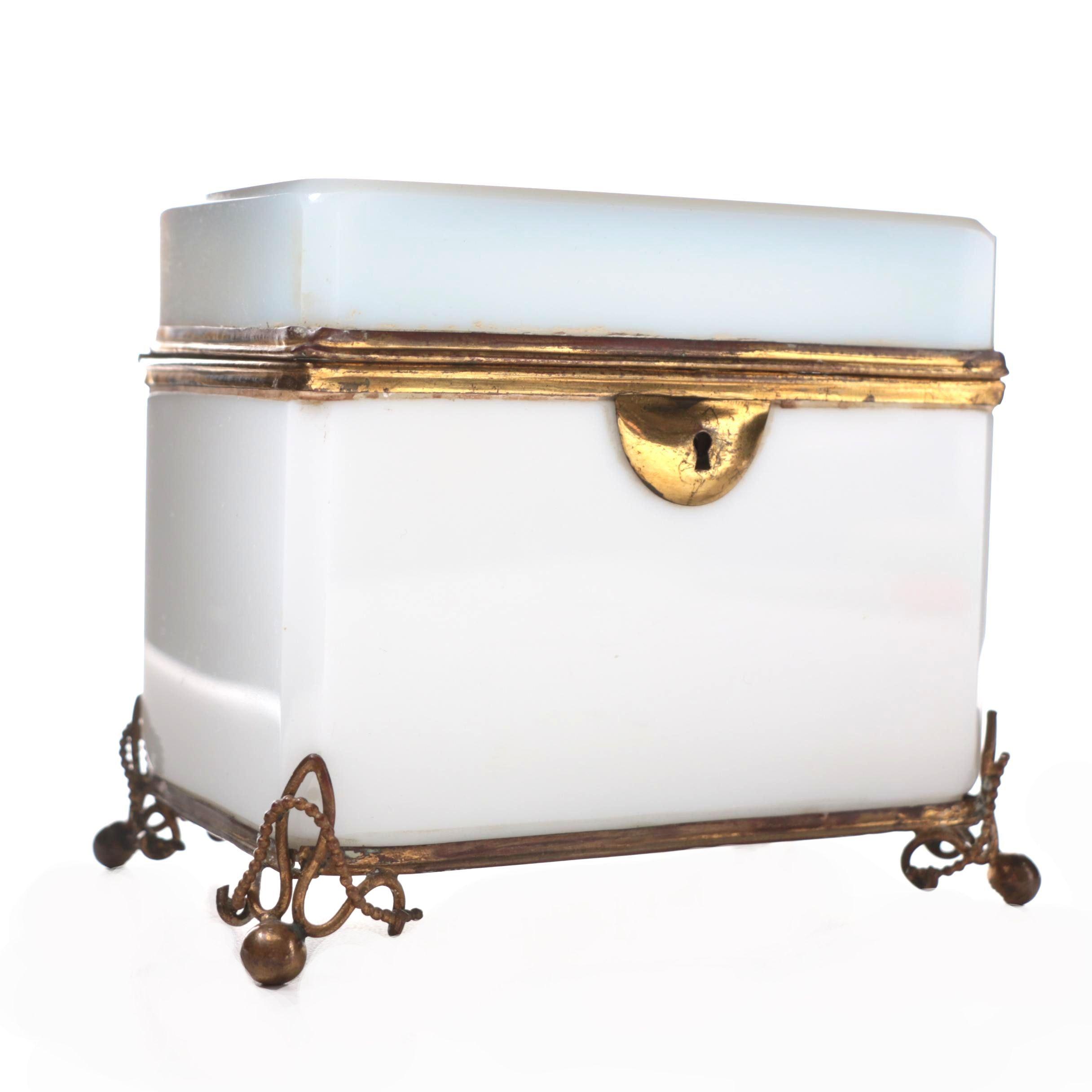 French Opaline Glass Casket Box, Late 19th Century