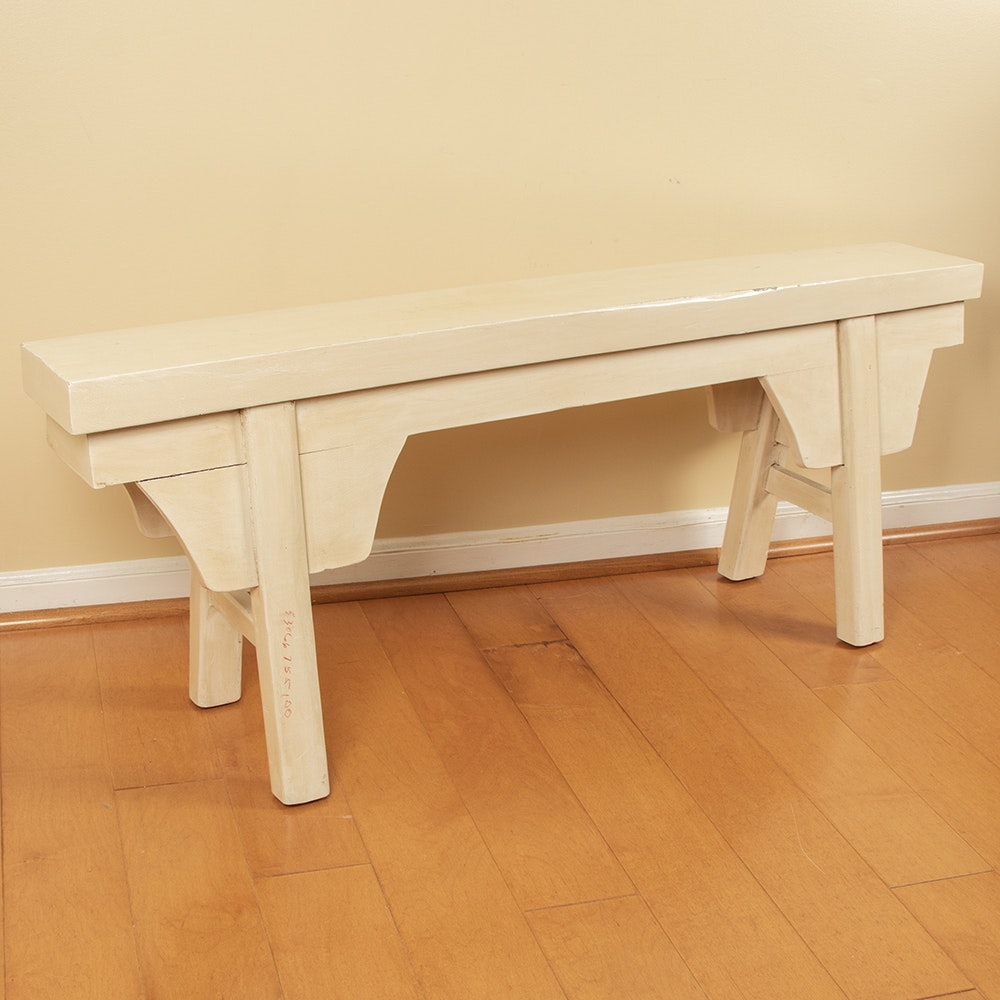Rustic Style Painted Wood Accent Bench
