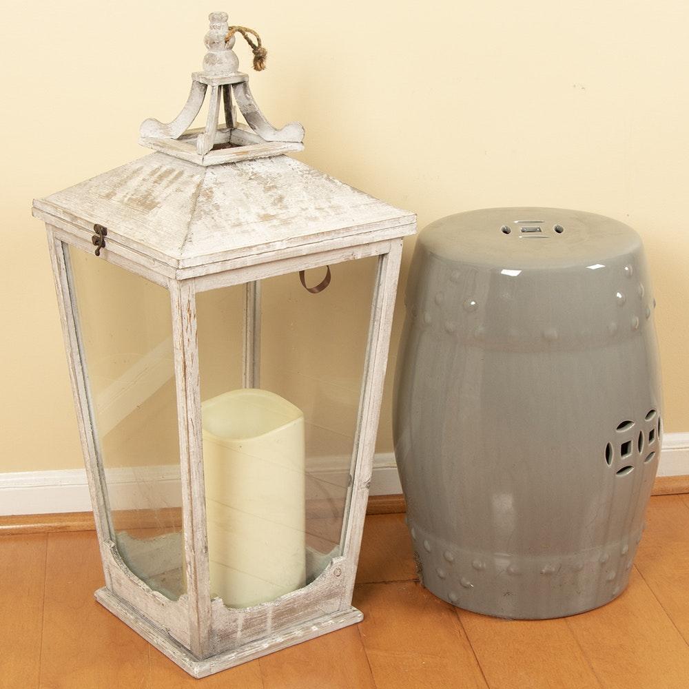 Oversized Lantern Candleholder with Ceramic Garden Stool