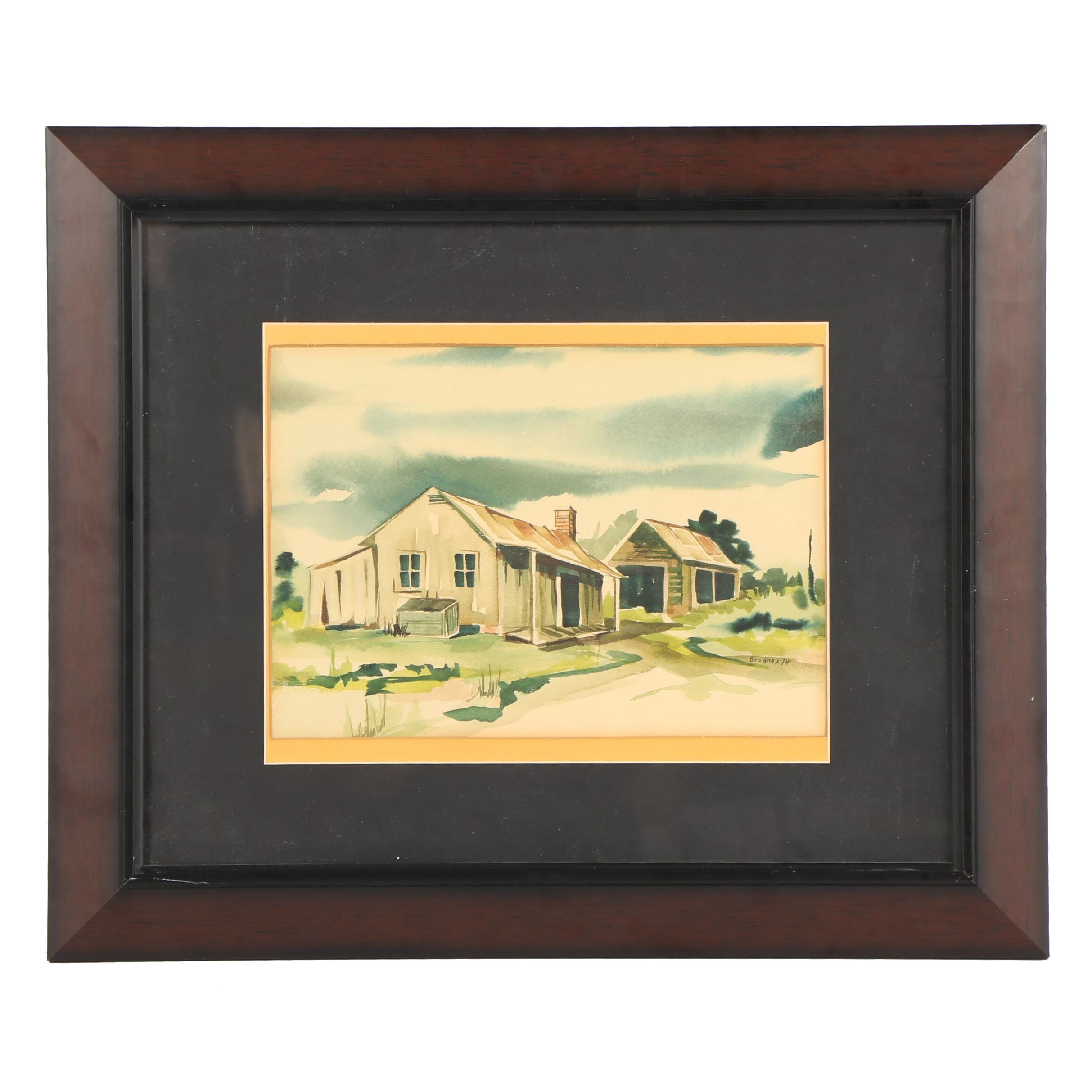 Brodnax Watercolor Painting of Rural Cottage
