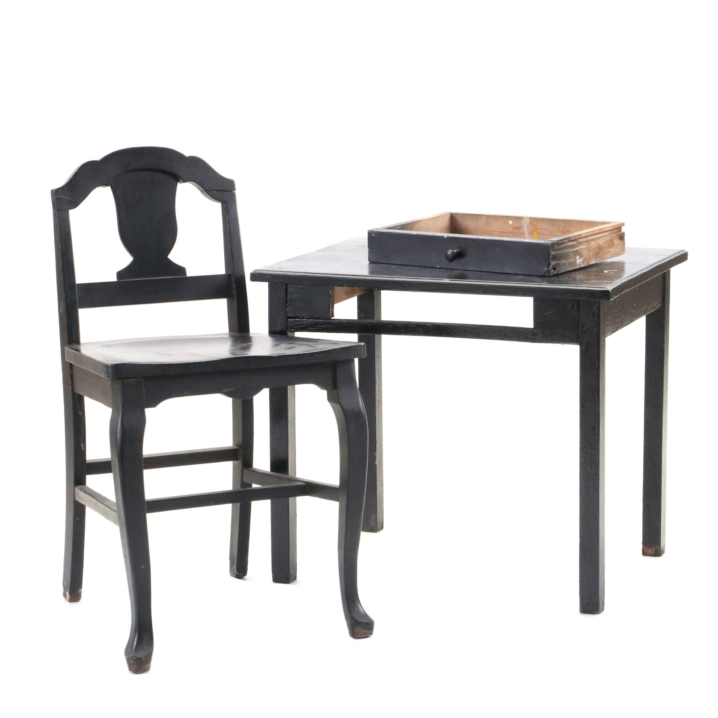 Small Ebonized Wooden Accent Table and Chair