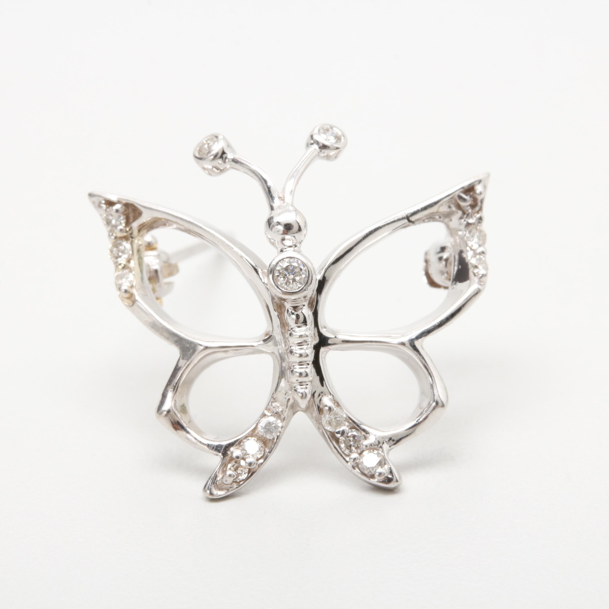 14K White Gold Diamond Butterfly Brooch