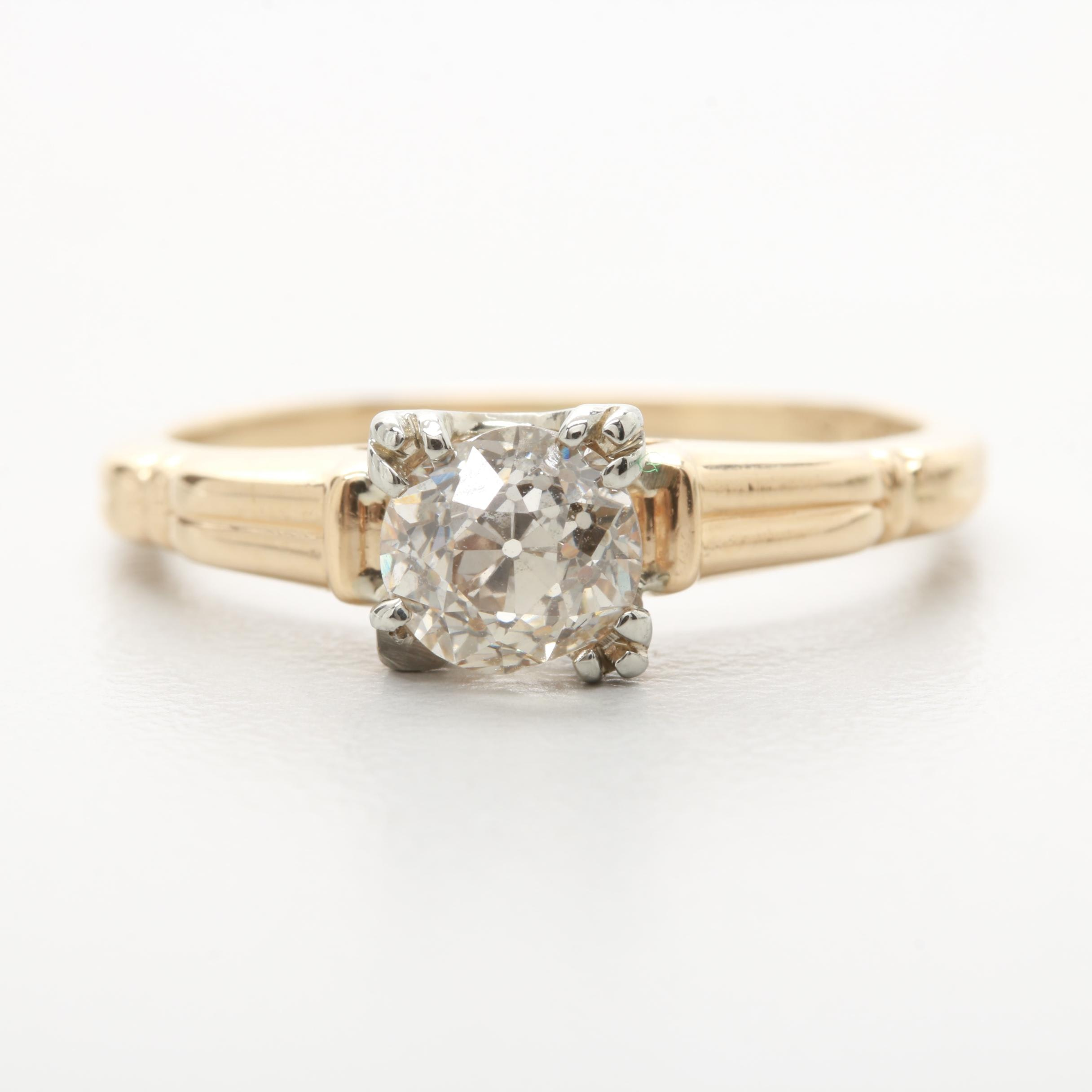 14K Yellow Gold Diamond Ring with 18K White Gold Accents