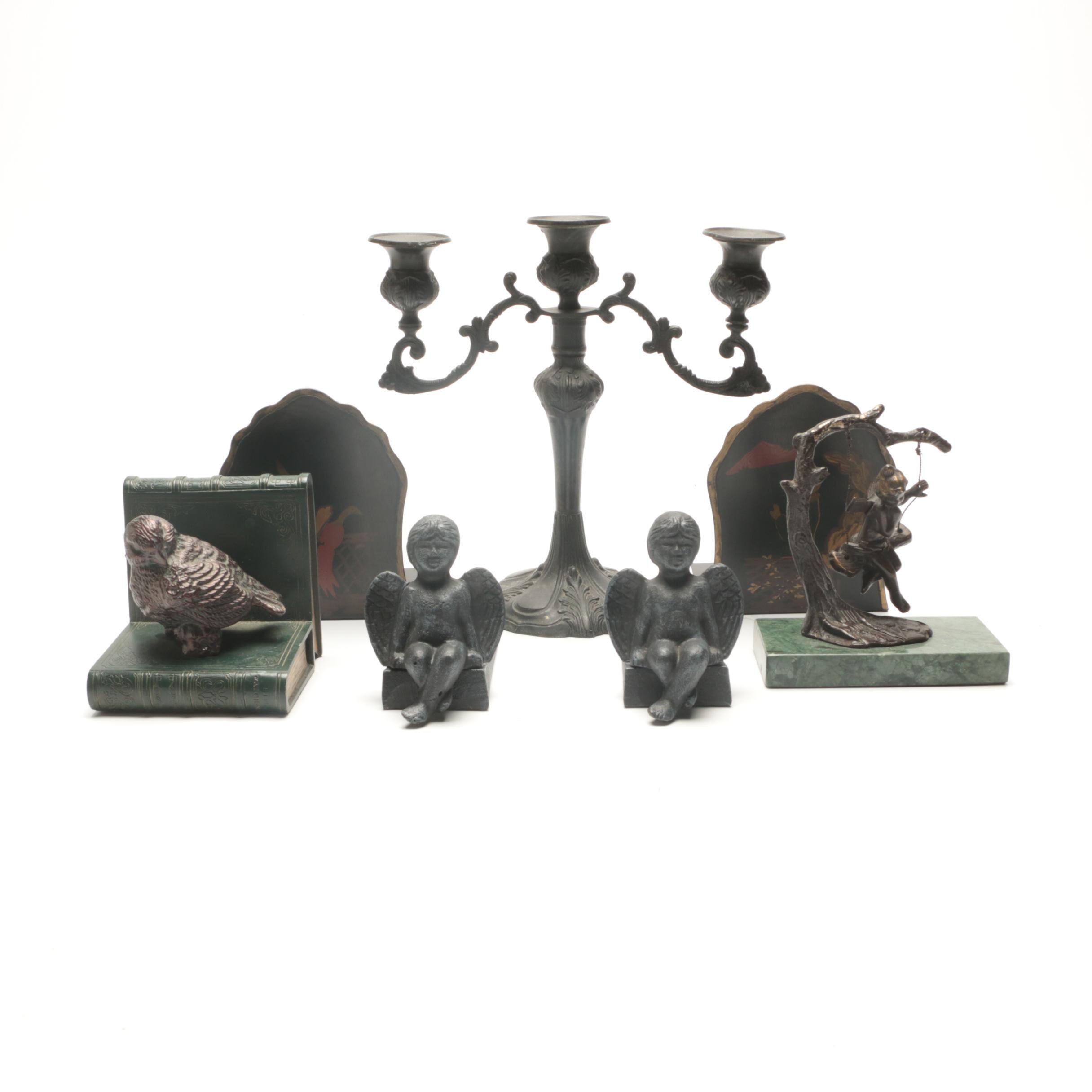 Decorative Metalware Including Bookends and Doorstops