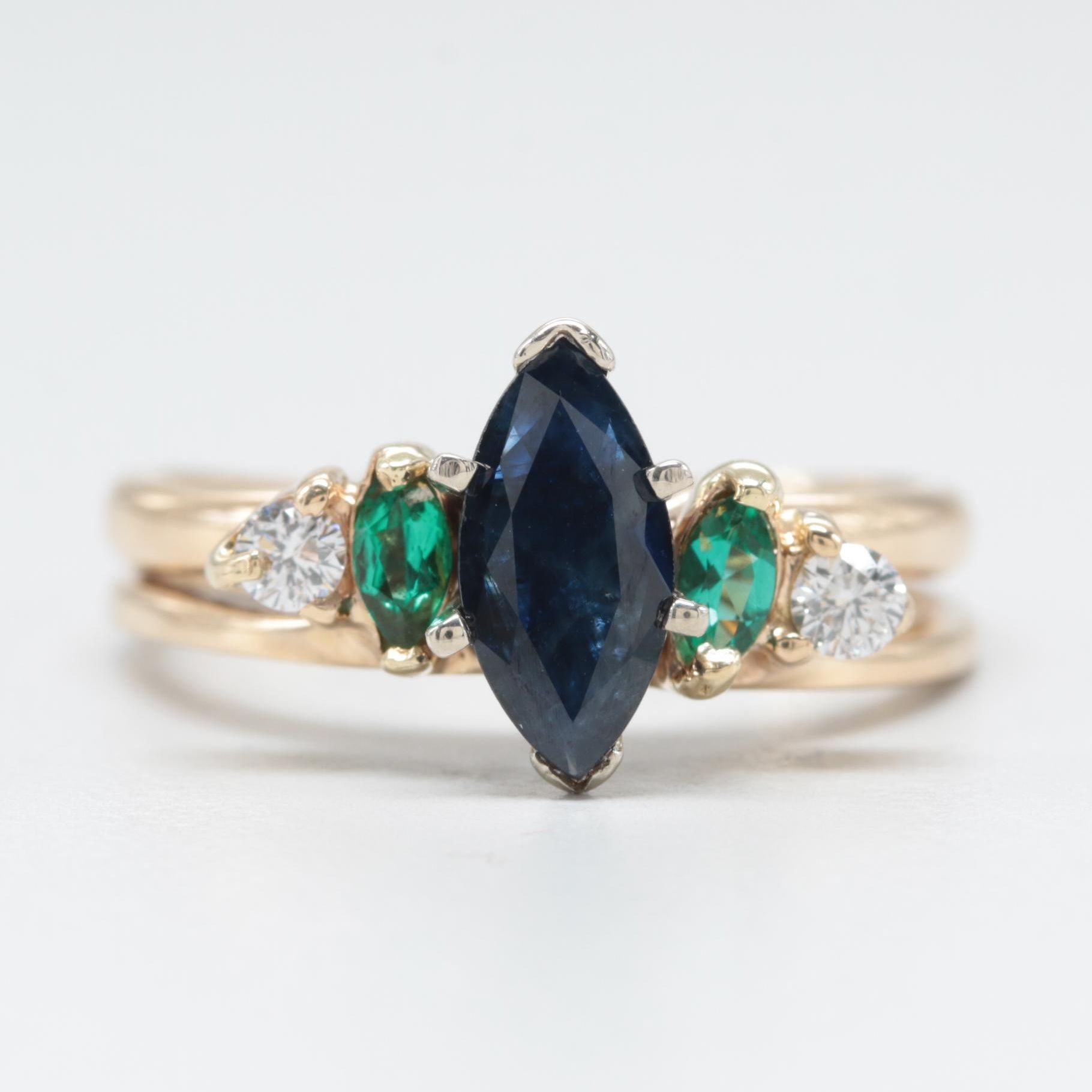 14K Yellow Gold Sapphire, Synthetic Emerald, and Diamond Ring