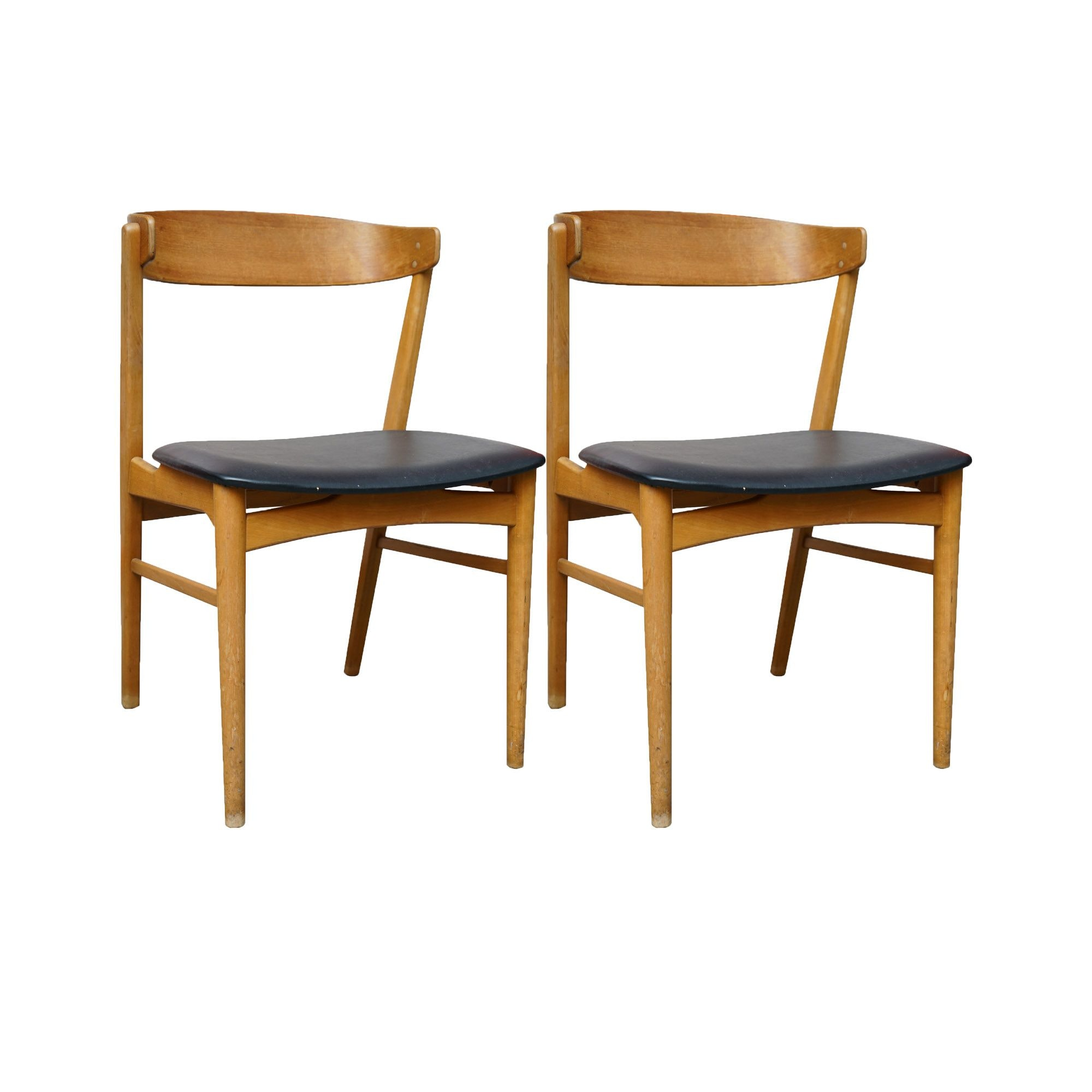 Danish Modern Style Curved Back Dining Chairs