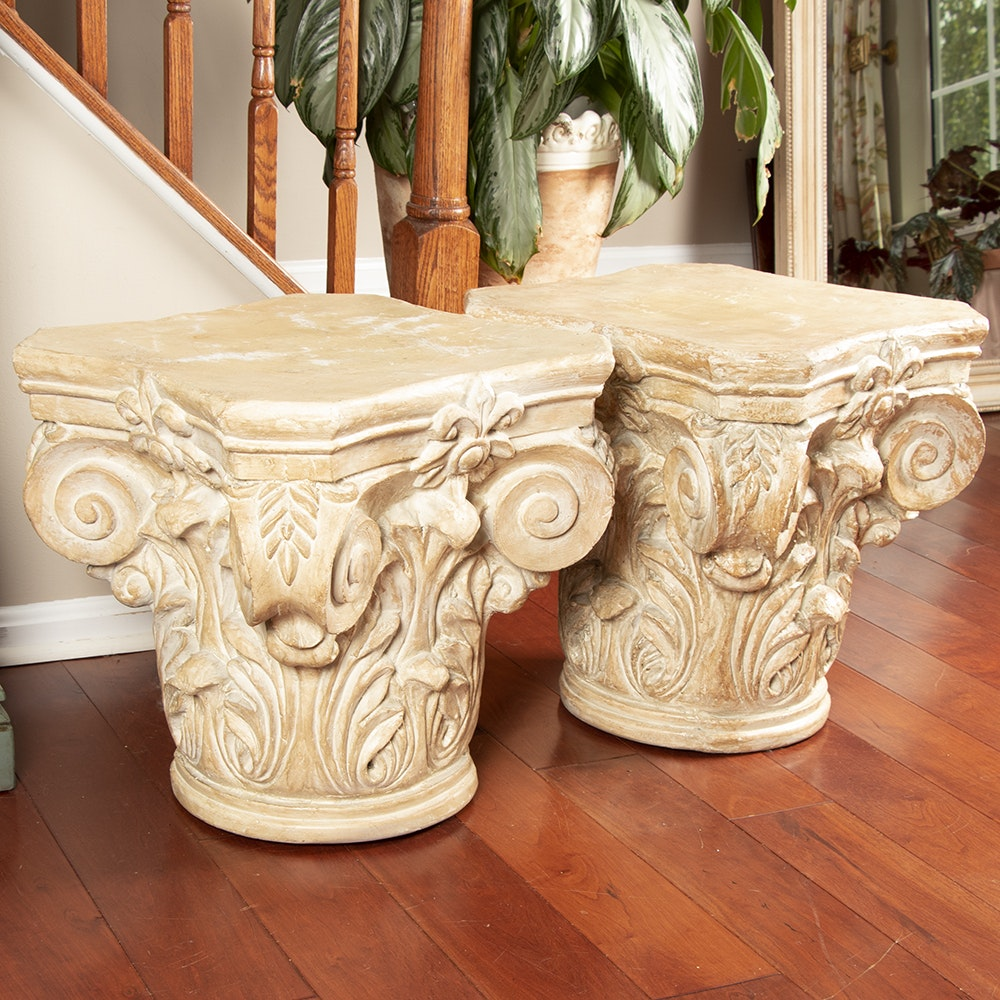 Contemporary Neoclassical Style Resin Plant Stands