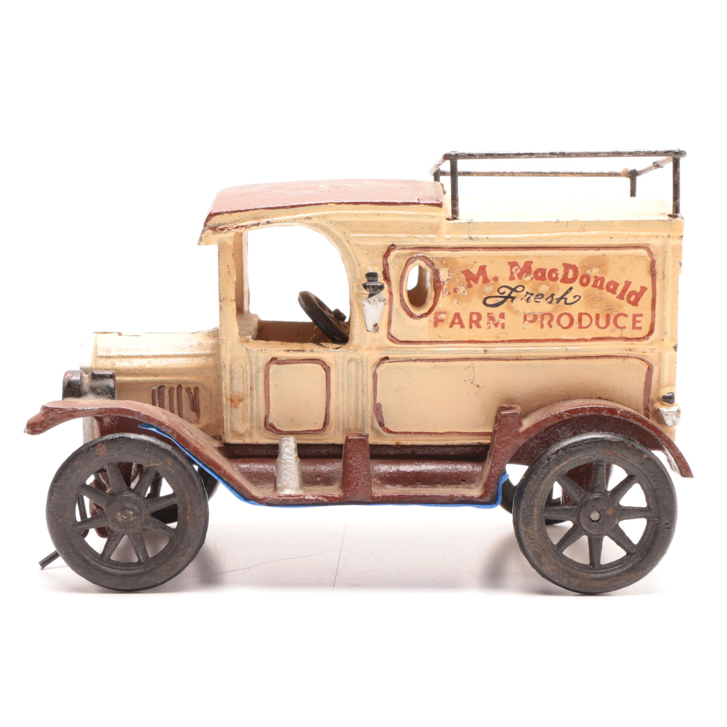 Reproduction Cast Iron M I MacDonald Fresh Farm Produce Truck