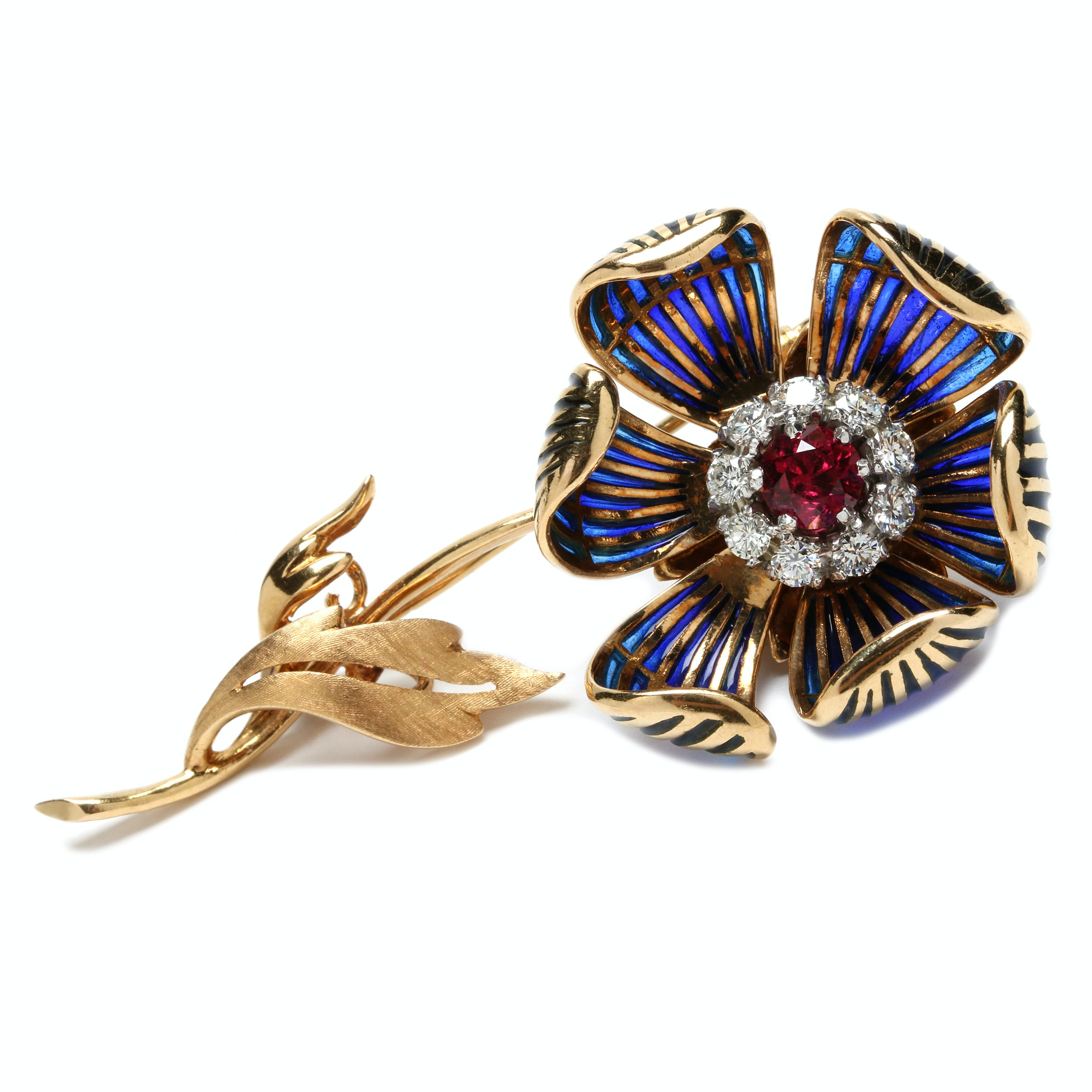 18K Yellow Gold, Ruby, Diamond and Plique-à-Jour Articulated Flower Brooch