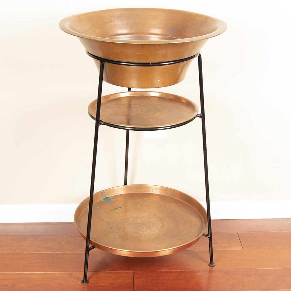 Three-Tier Copper Plant Stand, Contemporary