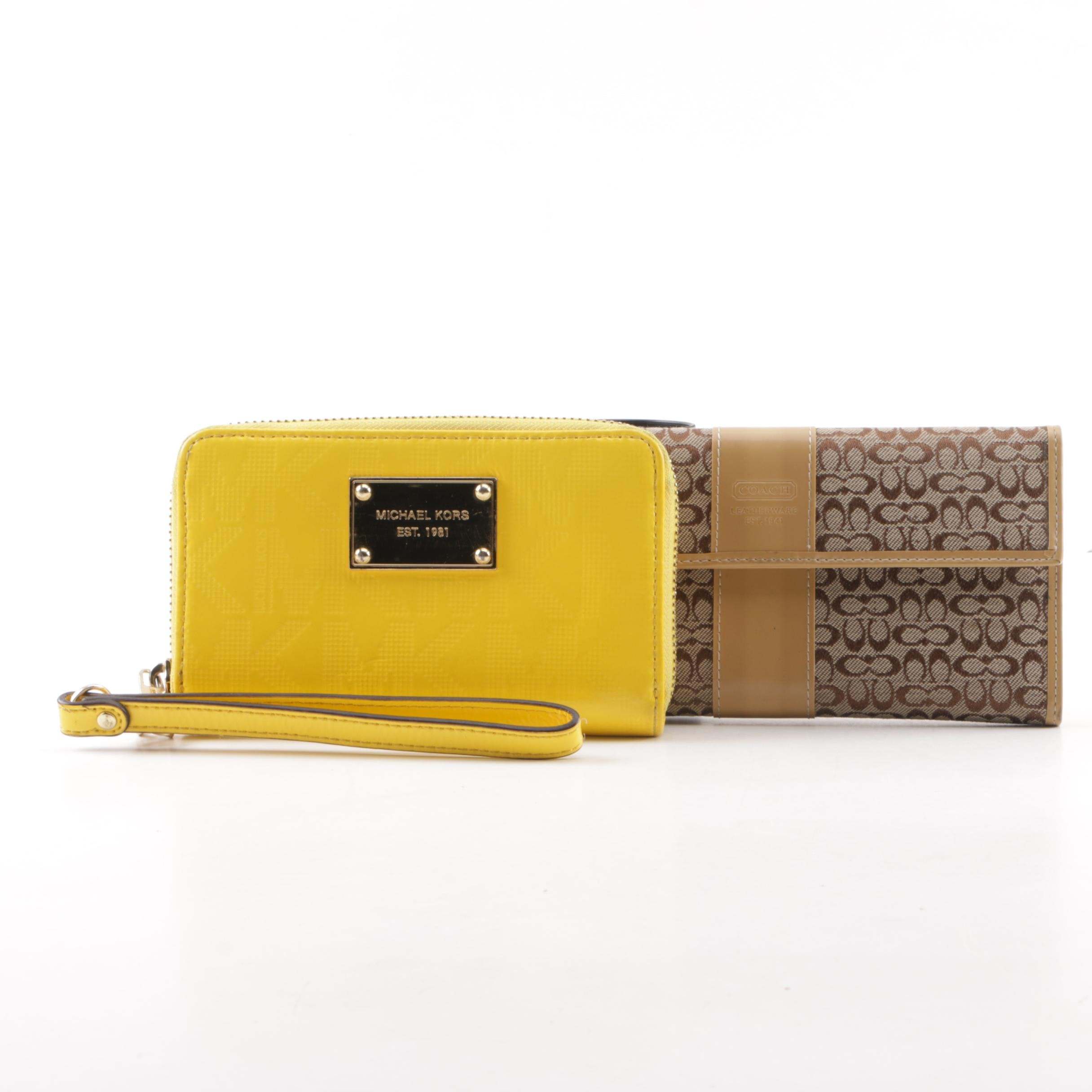 Coach Signature Canvas Wallet and Michael Kors Yellow Leather Wristlet
