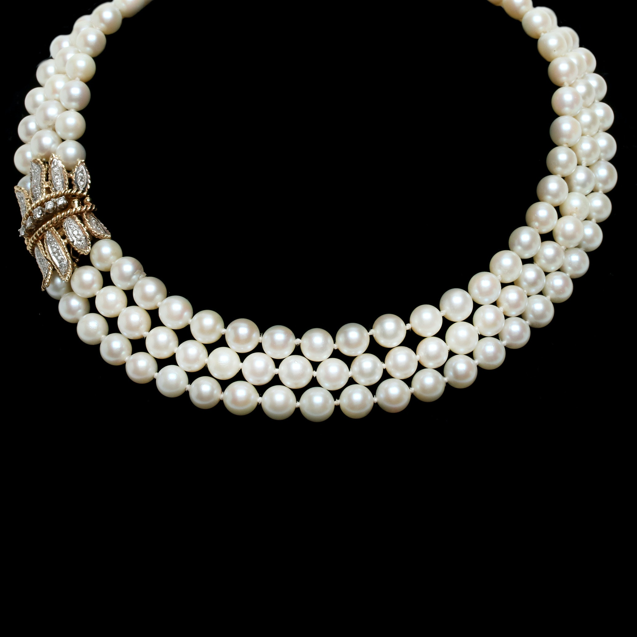 14K Yellow Gold Cultured Pearl and 1.00 CTW Diamond Necklace
