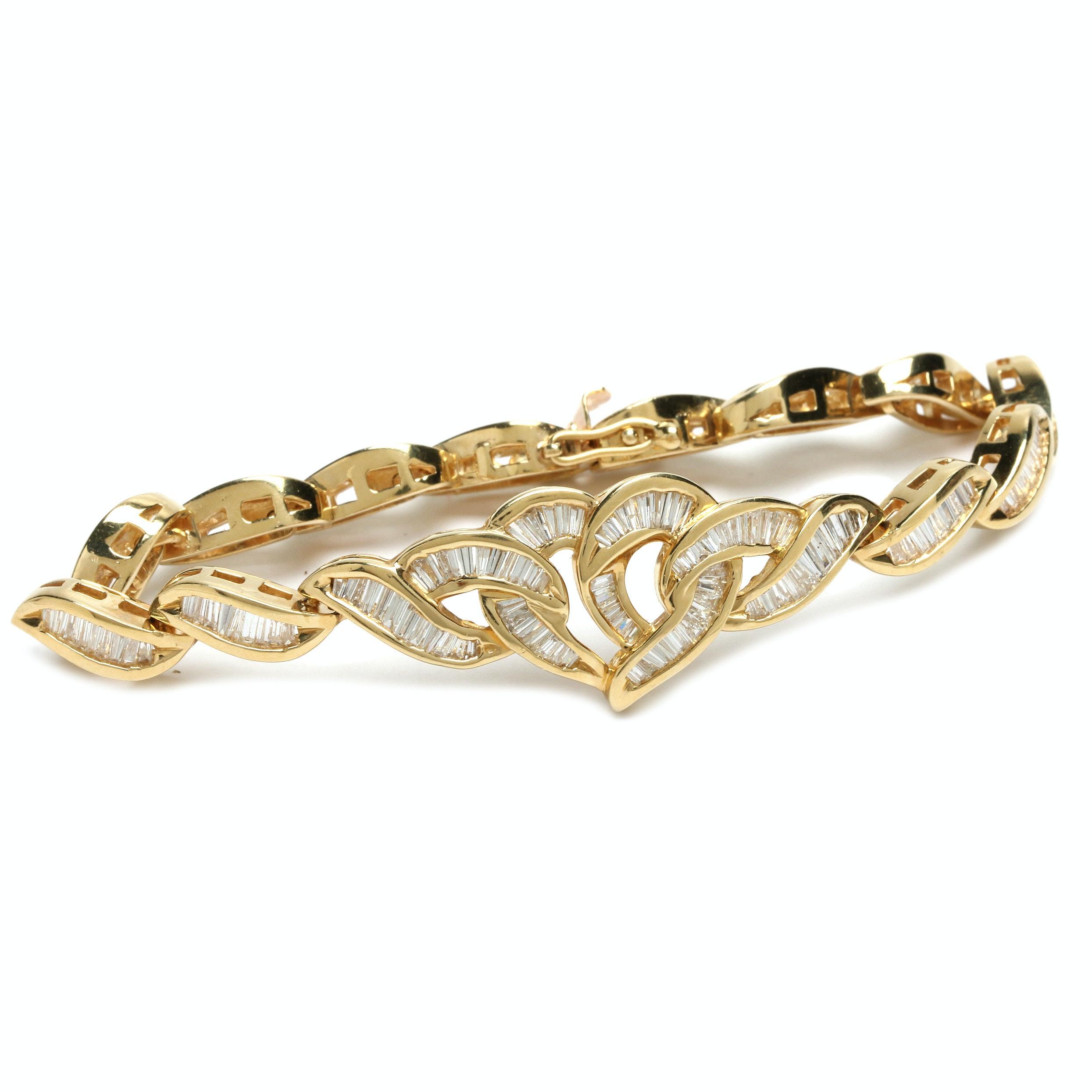 14K Yellow Gold 3.34 CTW Diamond Bracelet