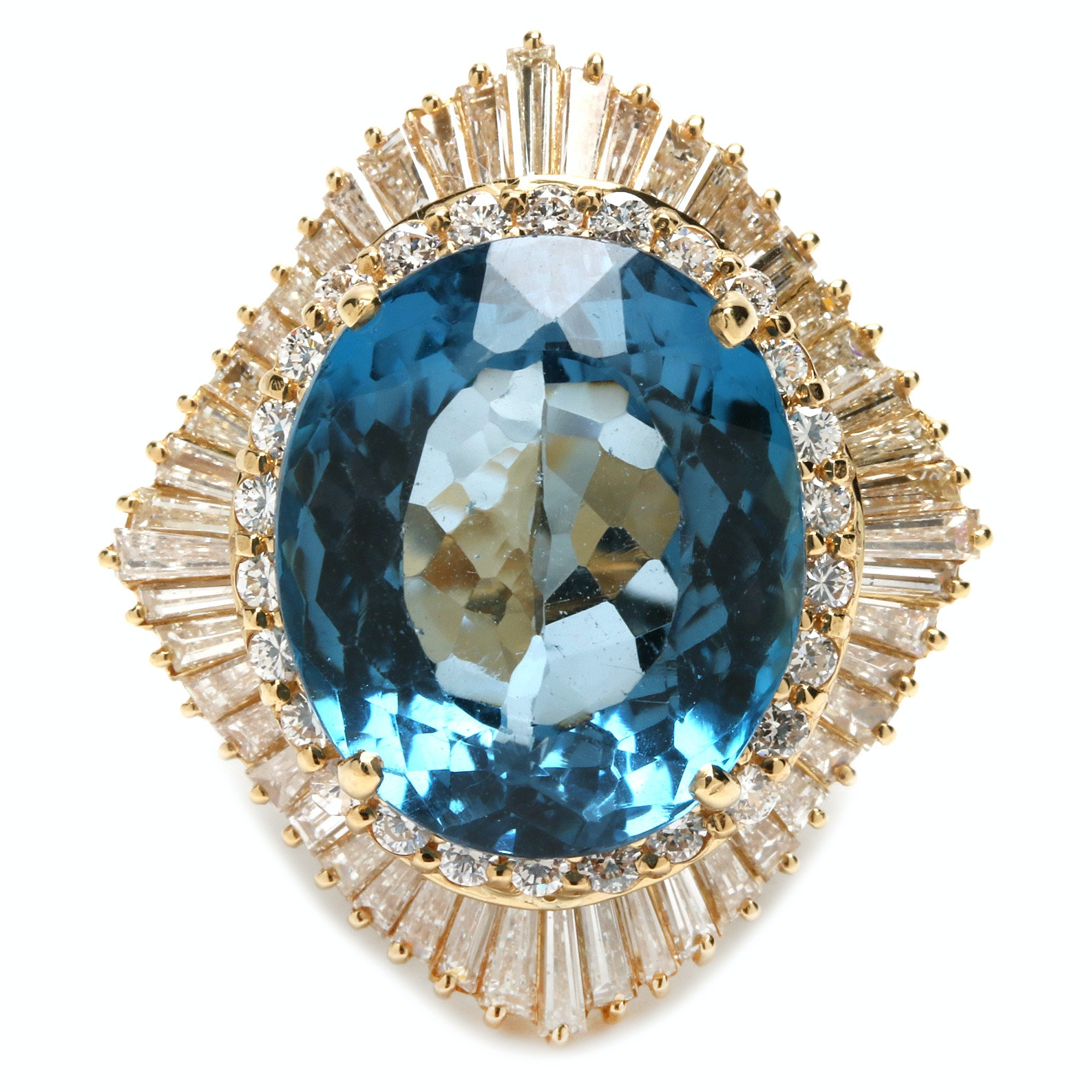 18K Yellow Gold 15.86 CT Blue Topaz and 2.65 CTW Diamond Ring