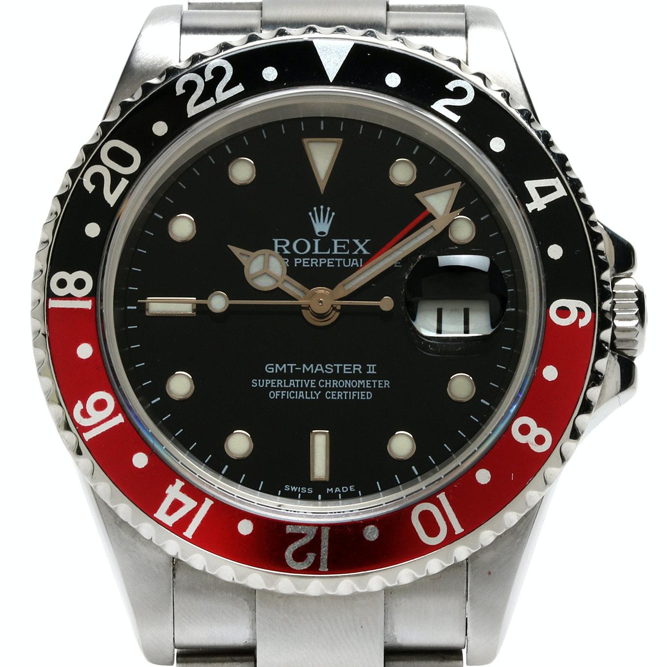 Rolex GMT-Master II Stainless Steel Coke Bezel Automatic Wristwatch