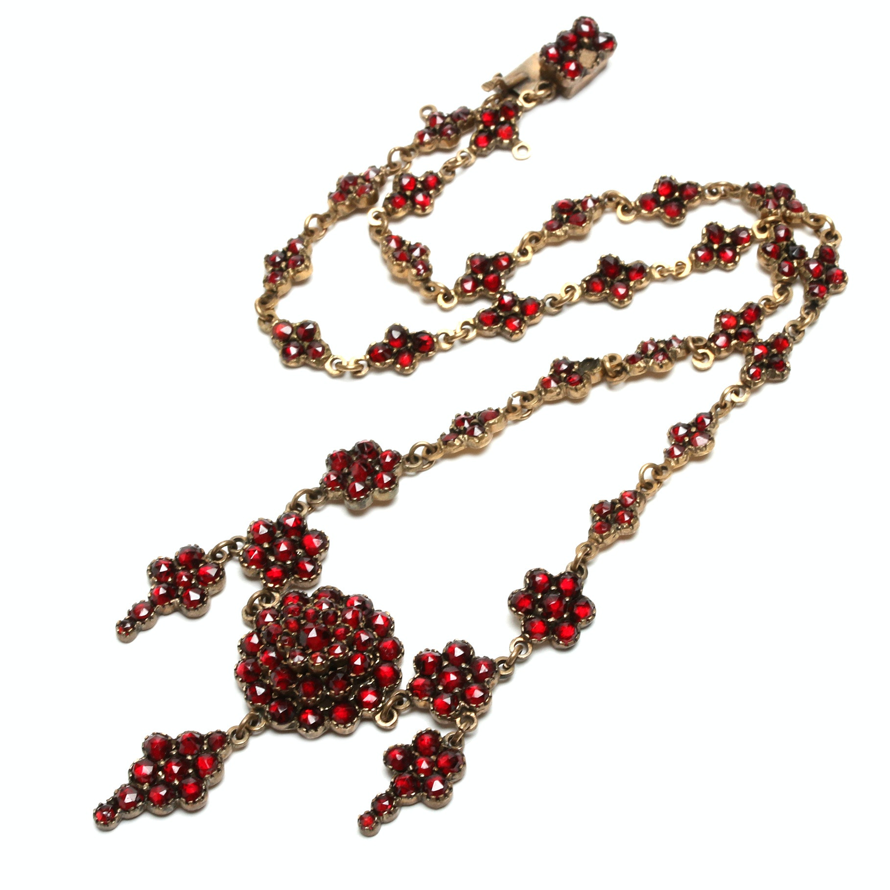Early 1900s Gold Tone Garnet Necklace