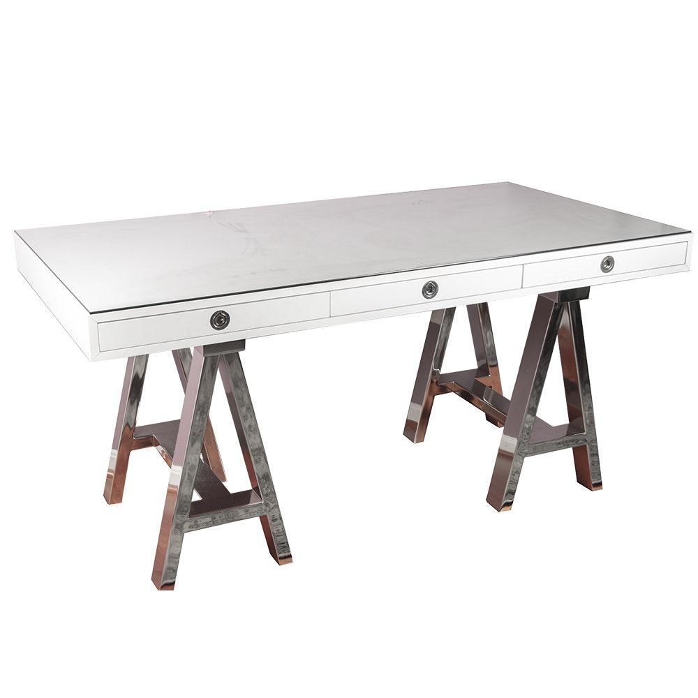 """Contemporary """"Mason"""" Glass Top Desk by Williams Sonoma"""