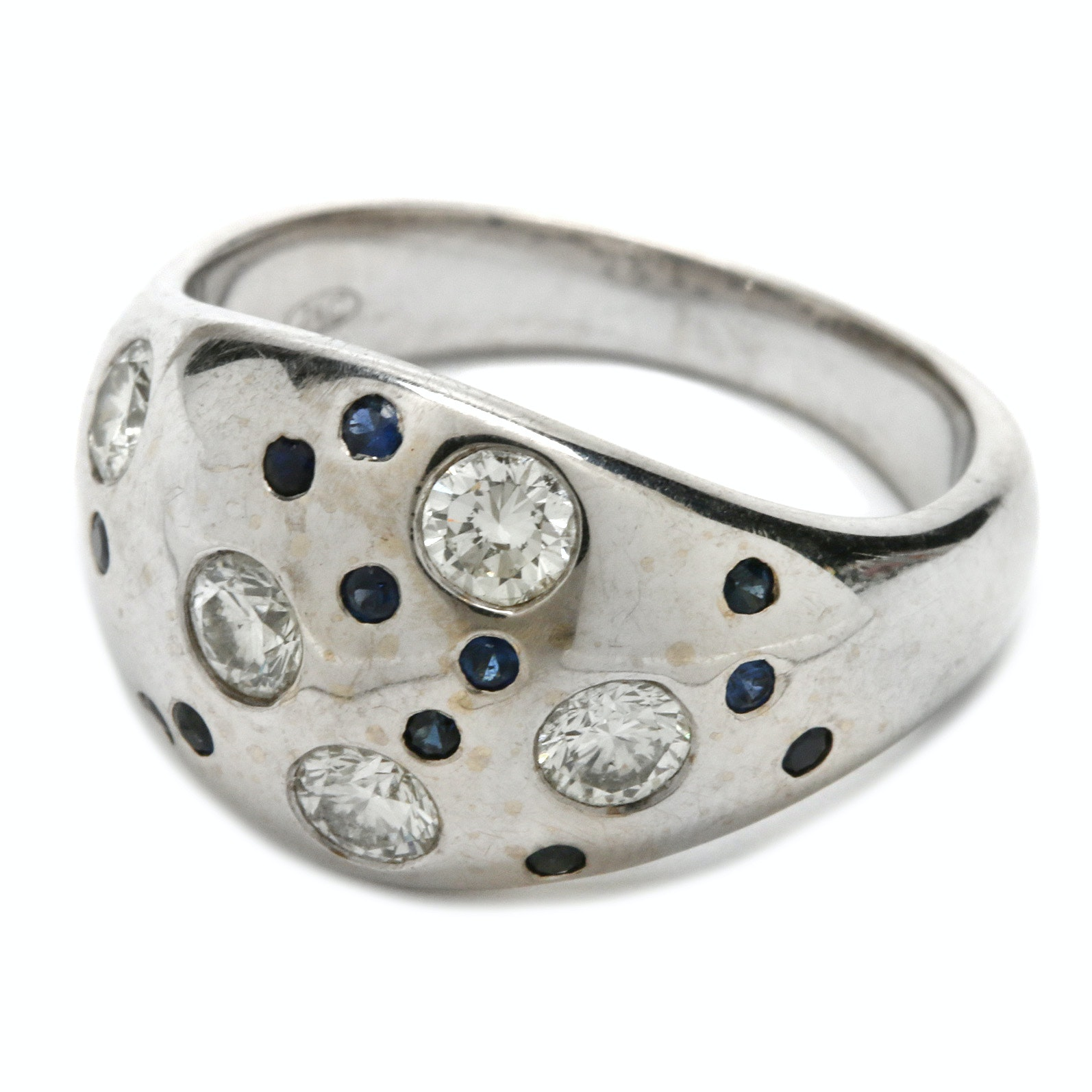 18K White Gold Blue Sapphire and Diamond Dome Ring