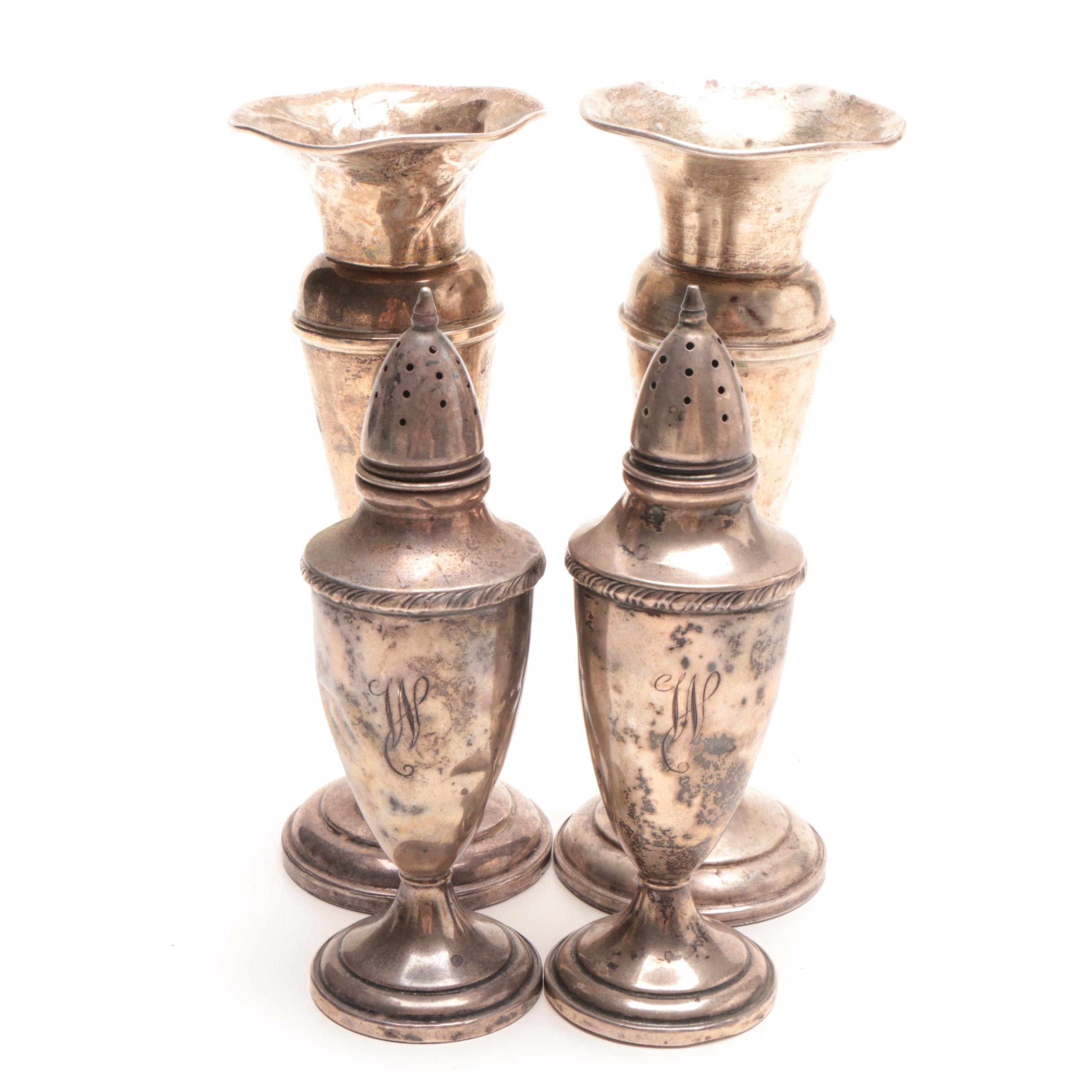 M. Fred Hirsch Weighted Sterling Shakers and Preisner Weighted Sterling Vases