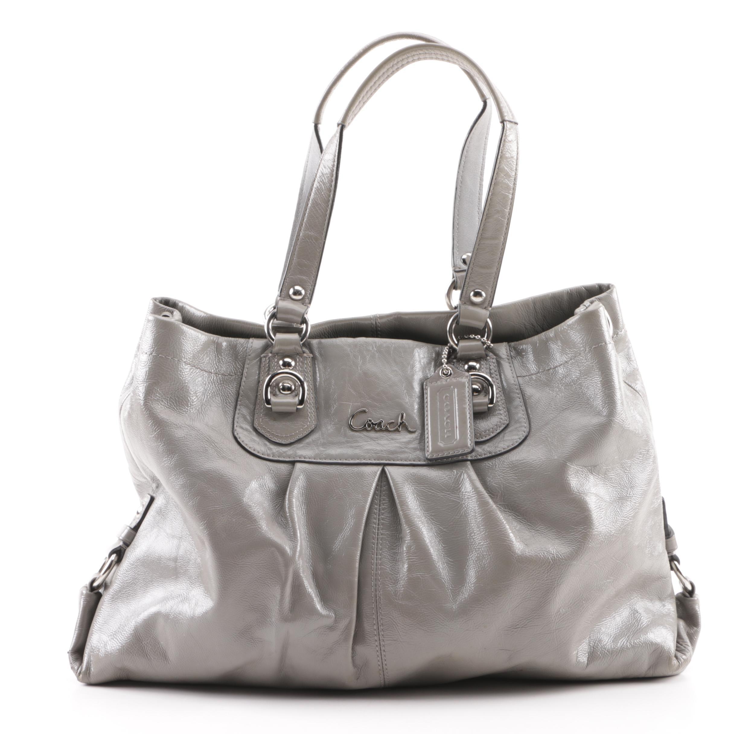 Coach Ashley Grey Leather Carryall Bag
