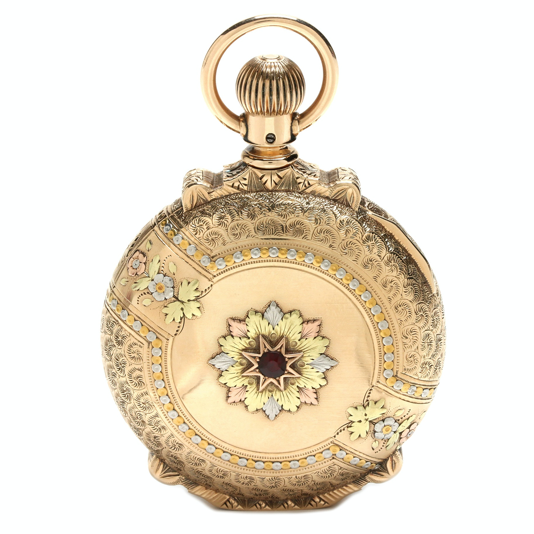 1891 John C. Dueber 14K Tri Color Gold Garnet Box Hinged Pocket Watch