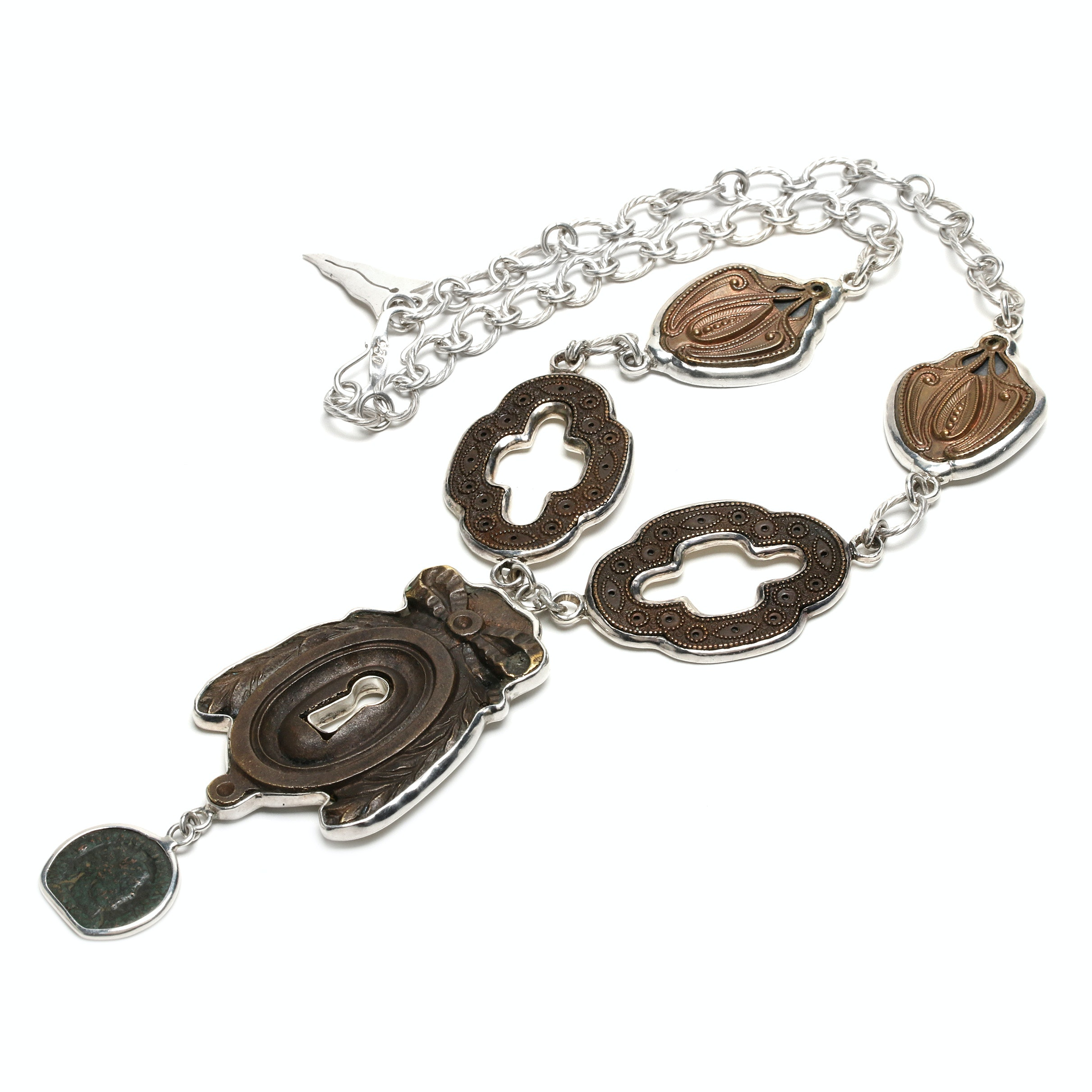 Barry Brinker 950 Silver Necklace With Roman Imperial Bronze Coin