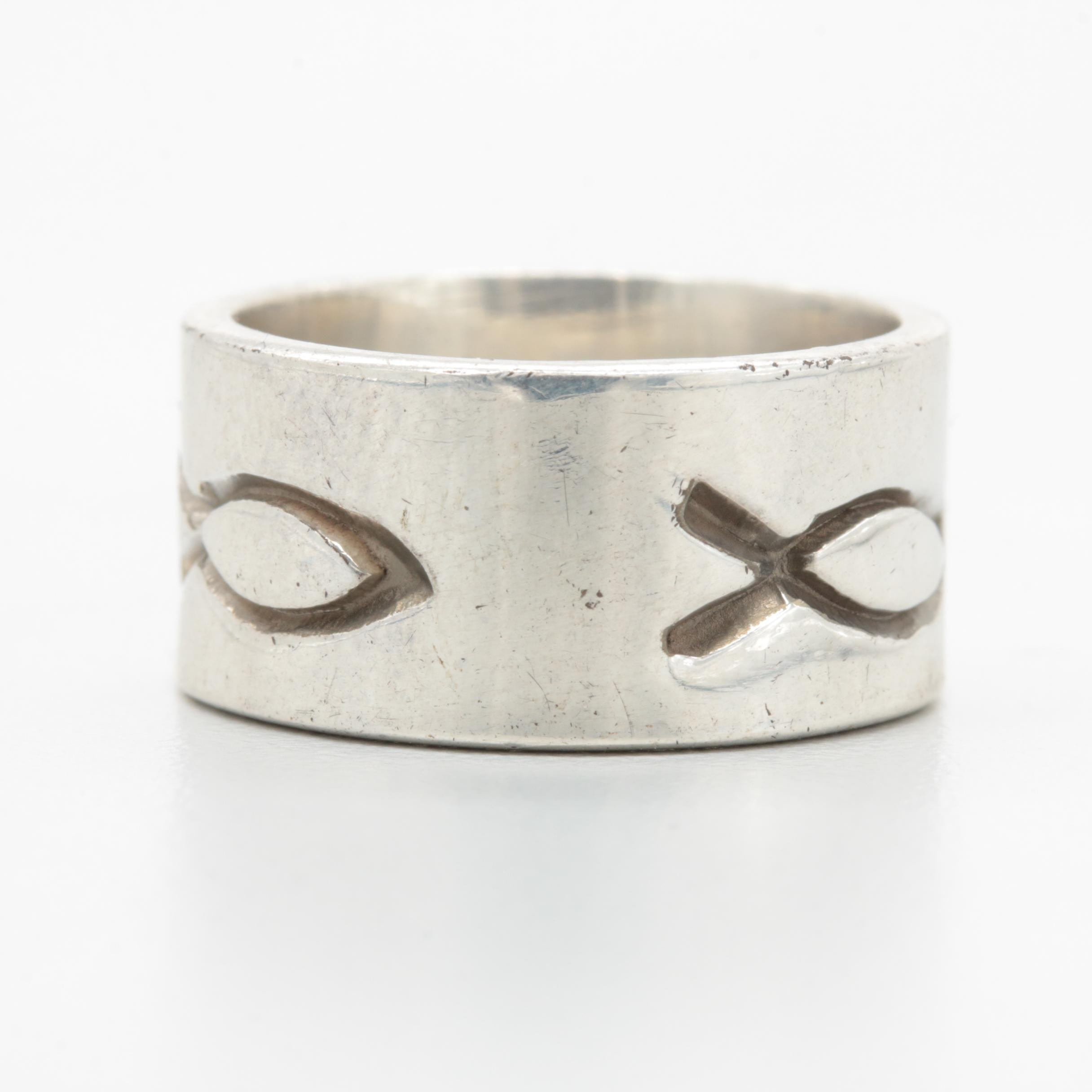 Sterling Silver Ichthys Motif Polished Band