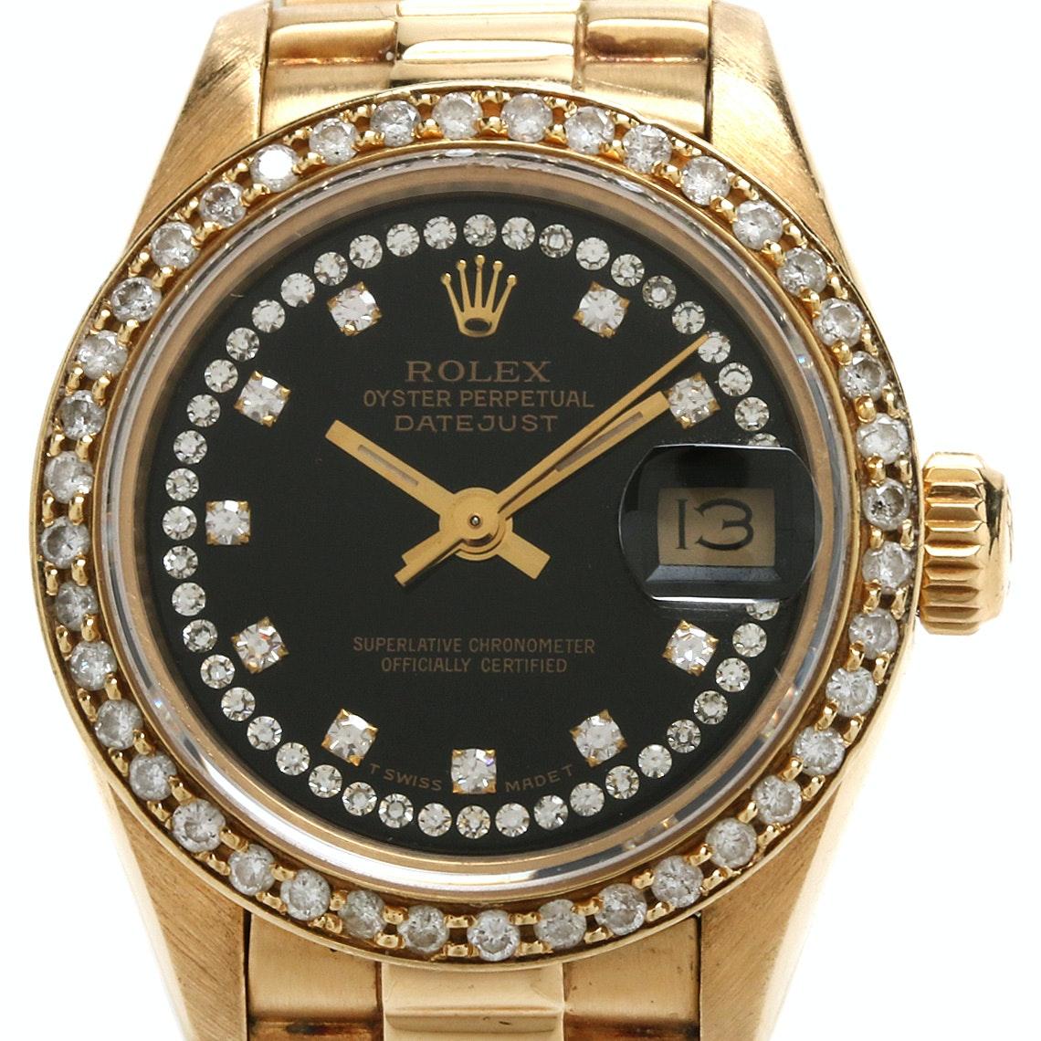 Circa 1990 Rolex President 18K Yellow Gold Diamond Automatic Wristwatch