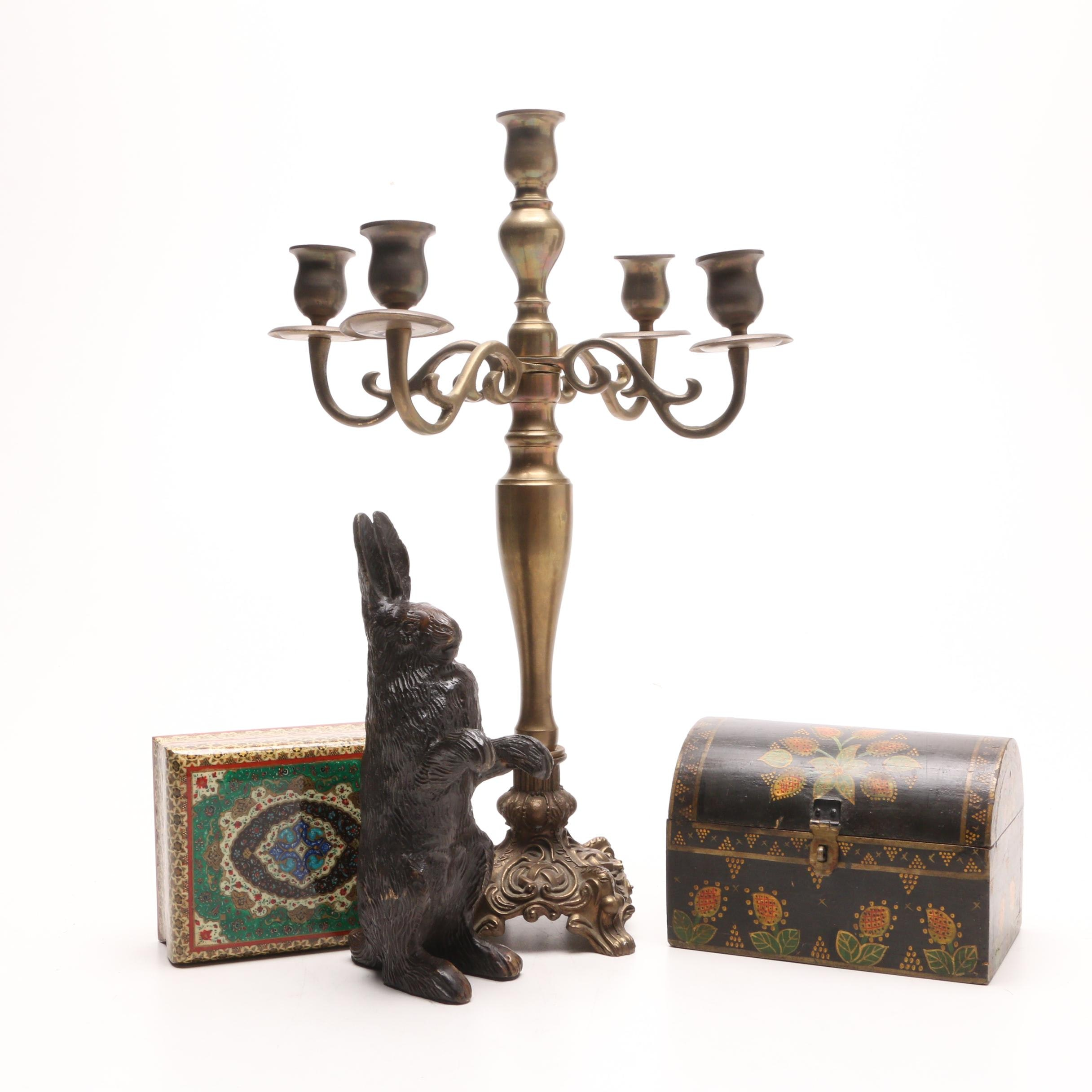 Table Decor Items Including Wooden Trinket Boxes