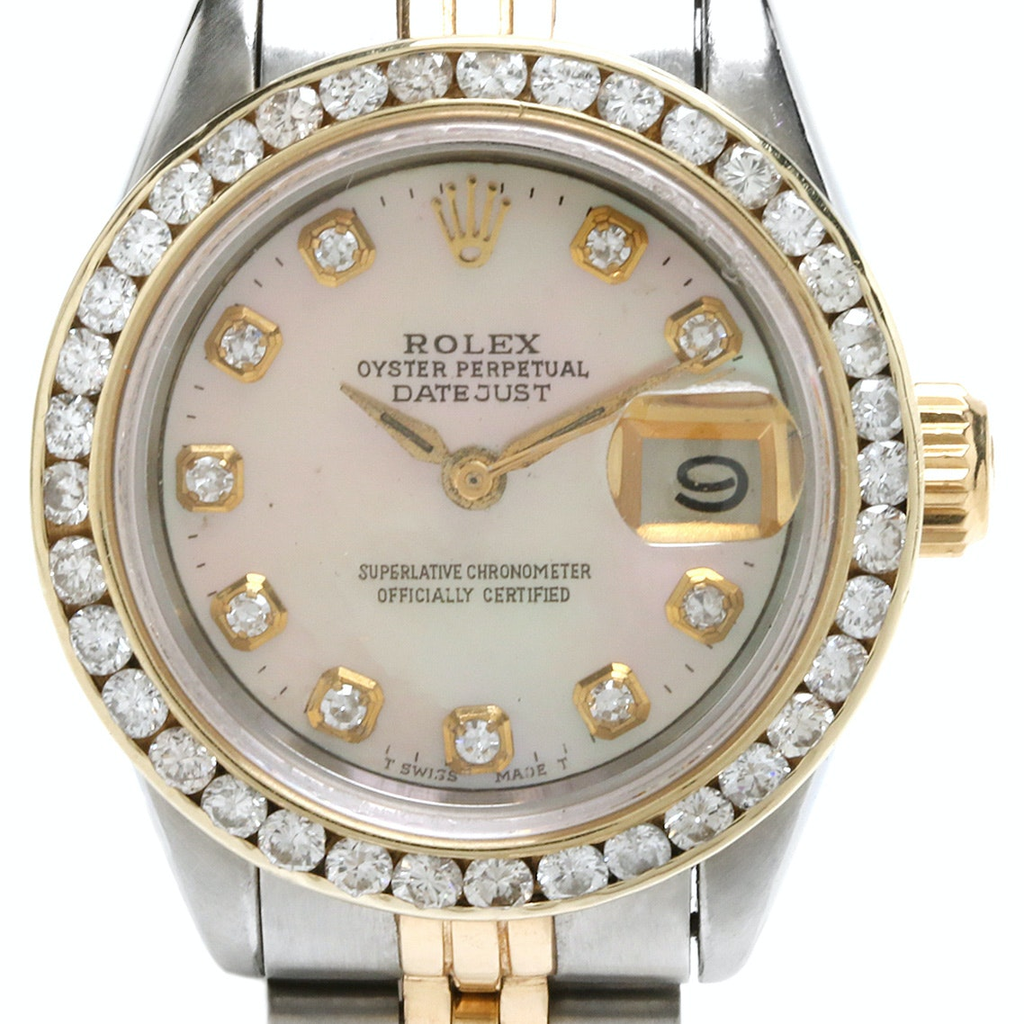 Rolex DateJust Two-Tone 1.18 CTW Diamond and Mother of Pearl Wristwatch