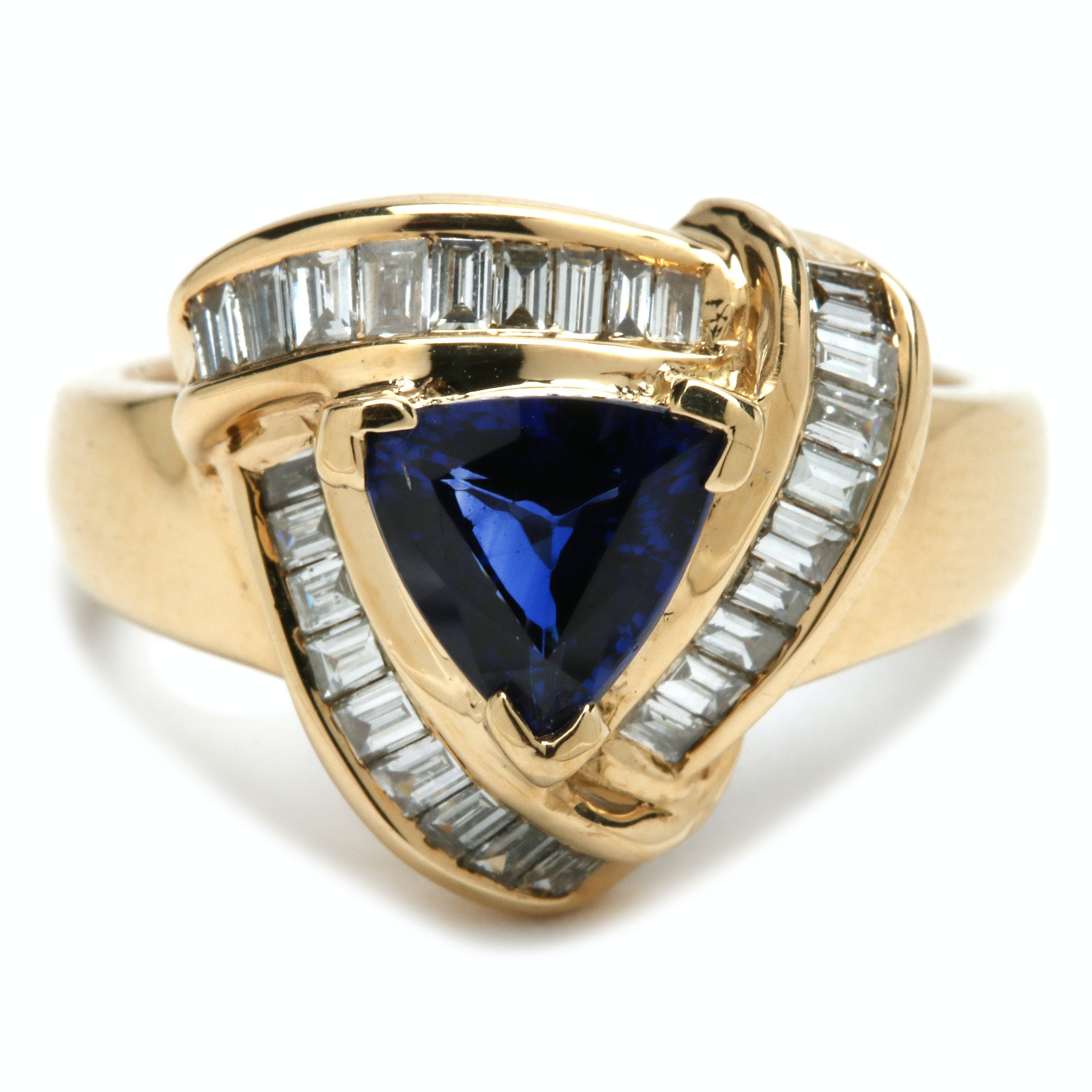 18K Yellow Gold 1.32 CT Blue Sapphire and Diamond Ring Including GIA Report