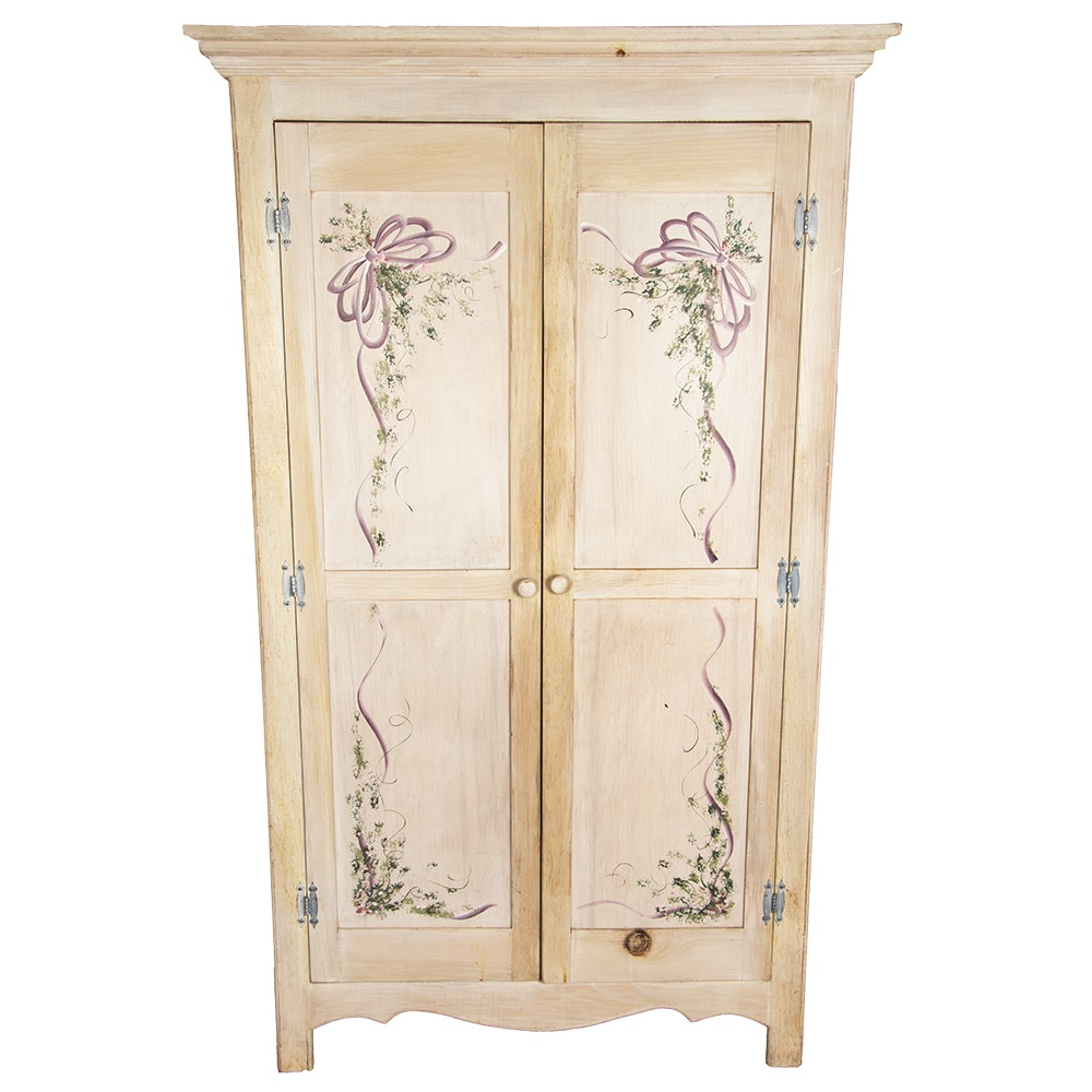Federal Style Hand-Painted Pine Wardrobe by P. Weaver, 20th Century