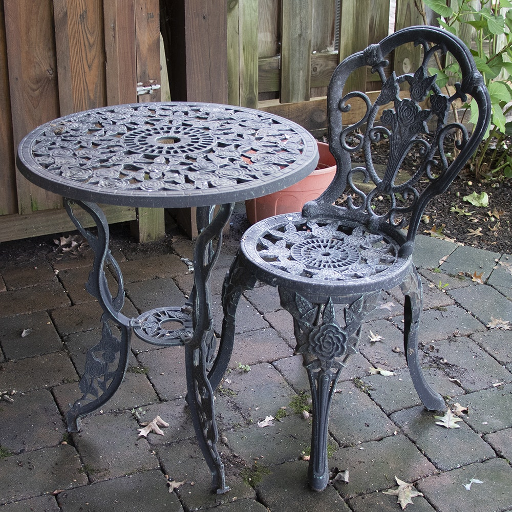 Metal Patio Table with Side Chair