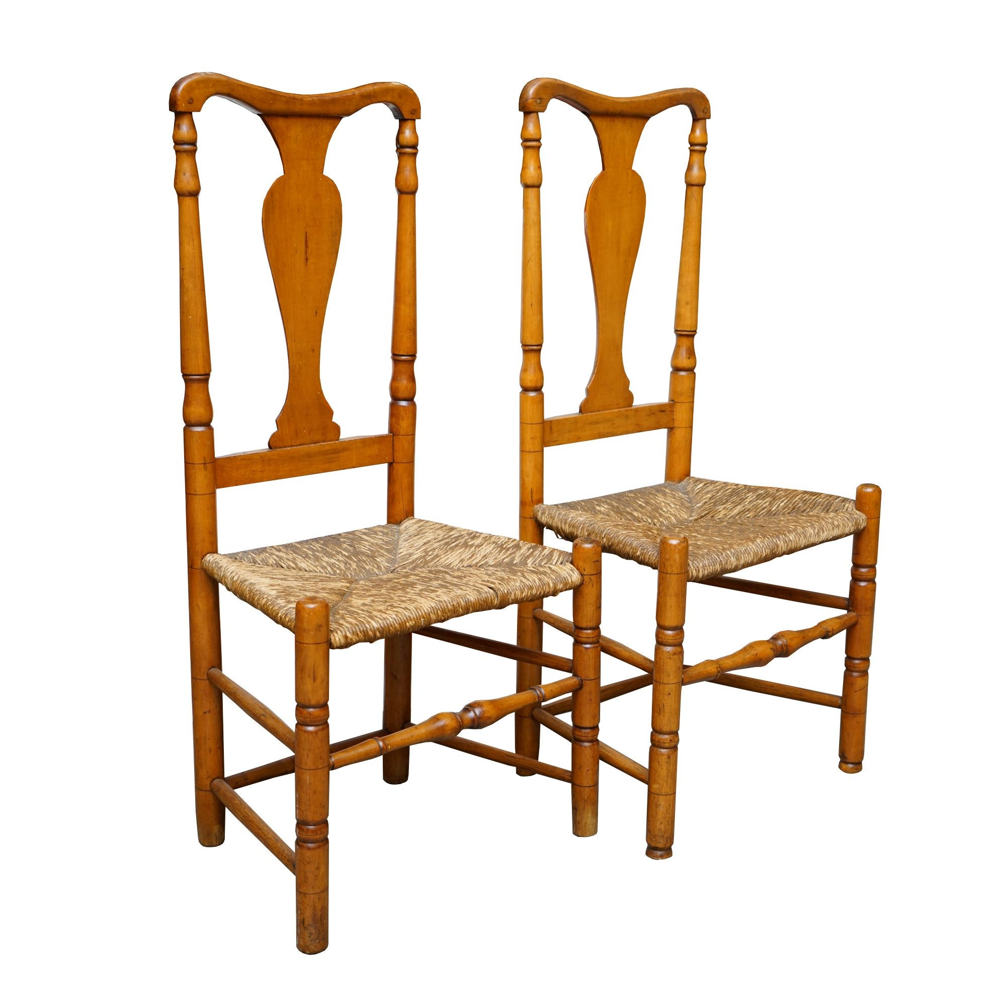 Antique Rush Seat Side Chairs