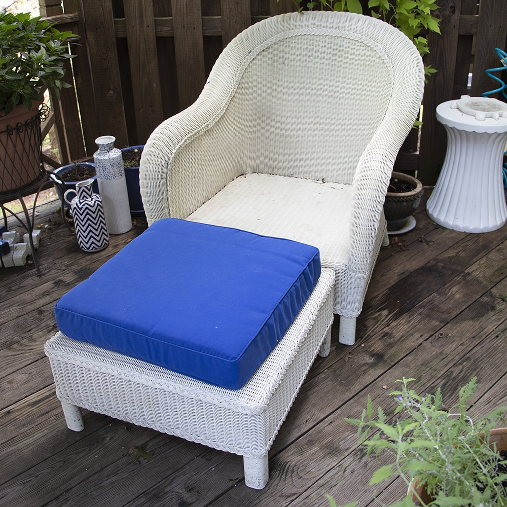 Contemporary White Wicker Weave Armchair and Ottoman