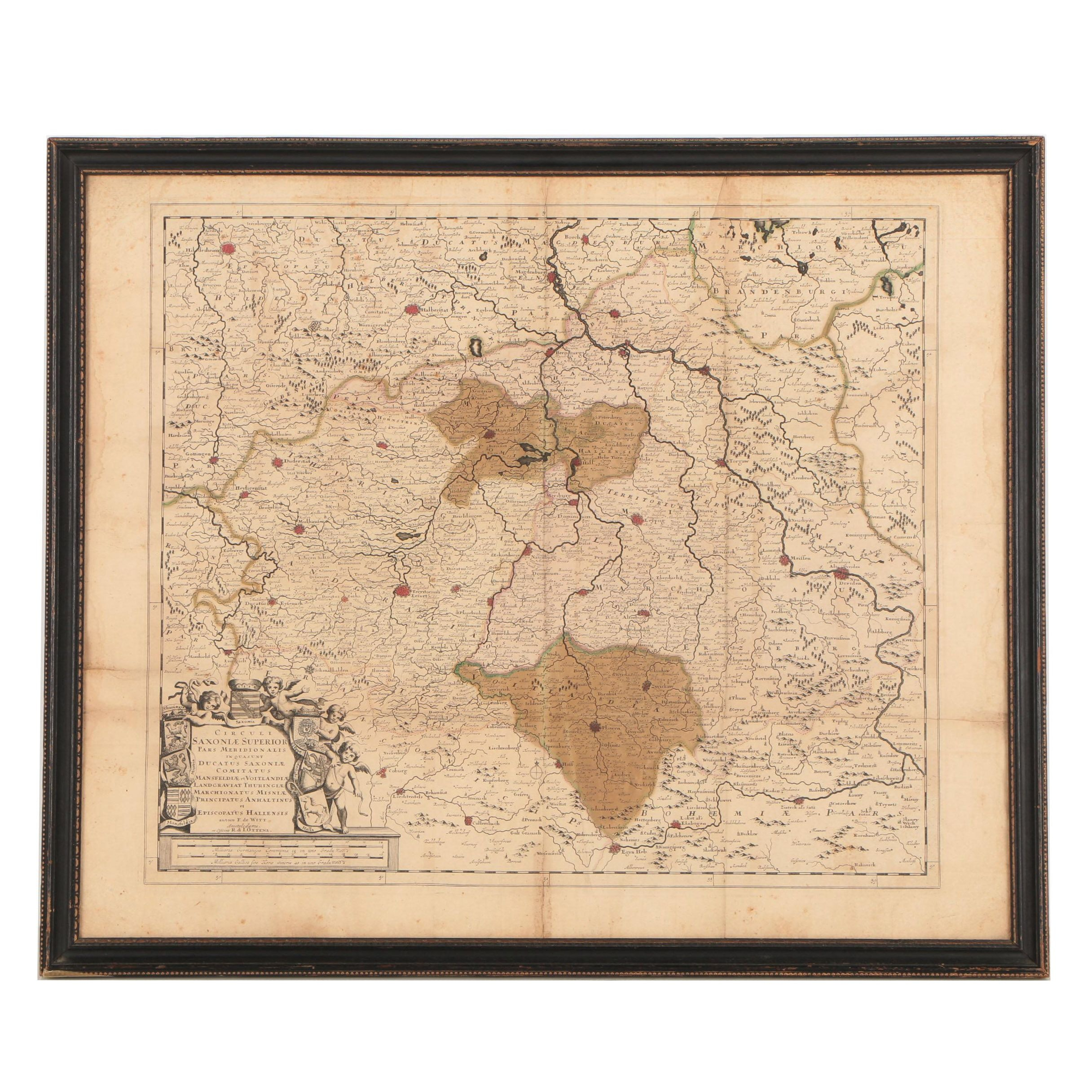 F. de Witt Antique Engraved Map of Saxony