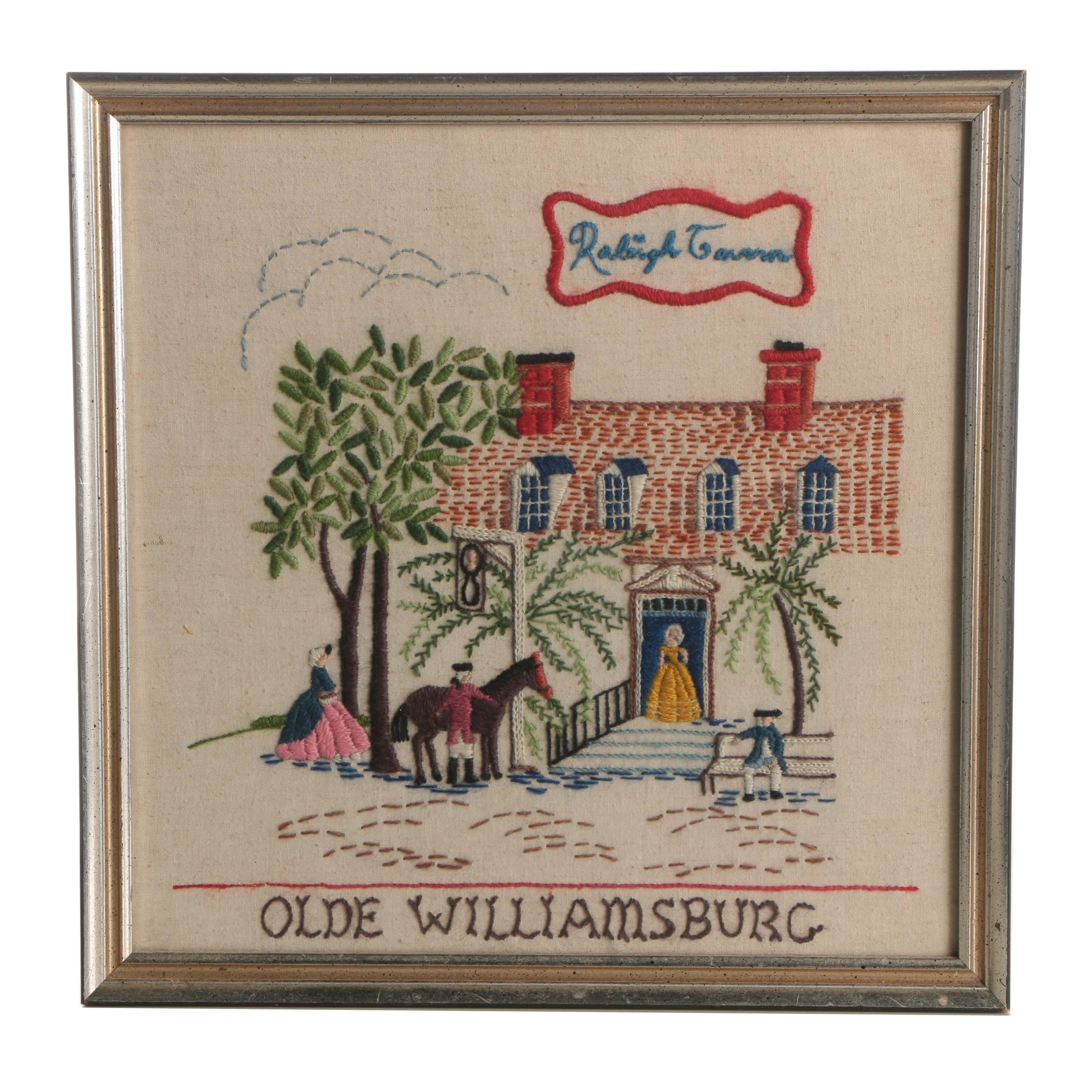 "Framed ""Olde Williamsburg Raleigh Tavern"" Embroidered Panel"