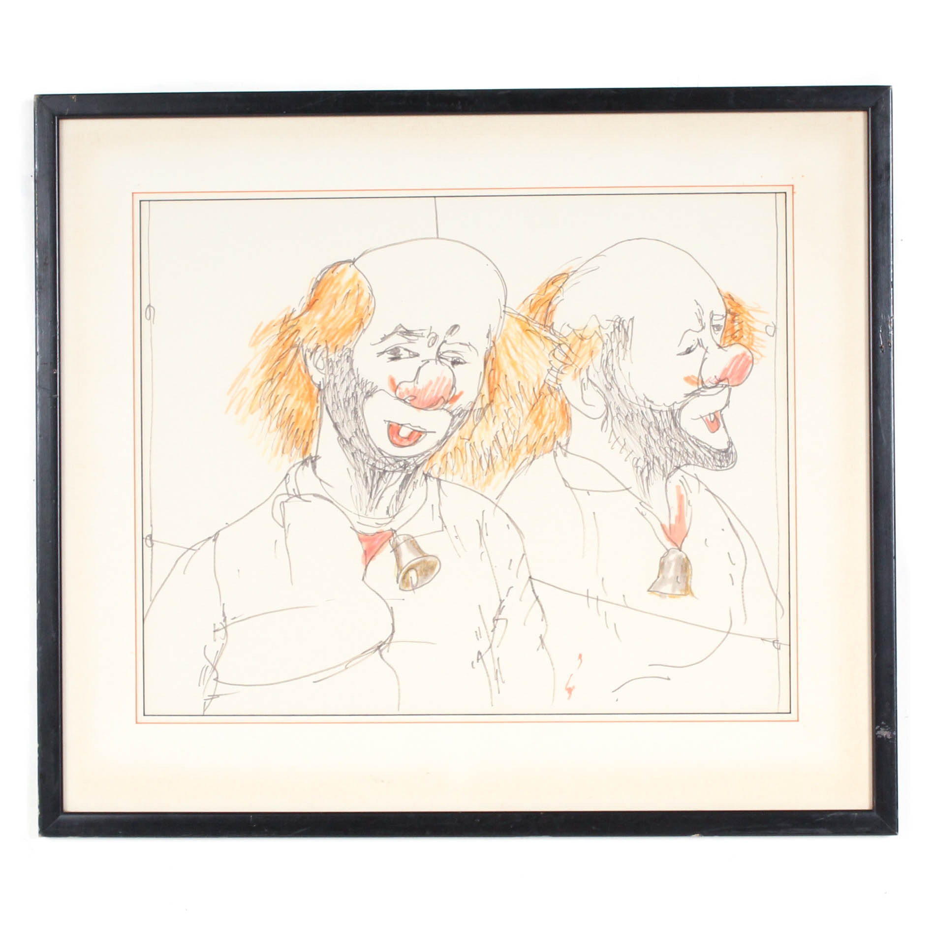 Ink Drawing of Clown in Mirror