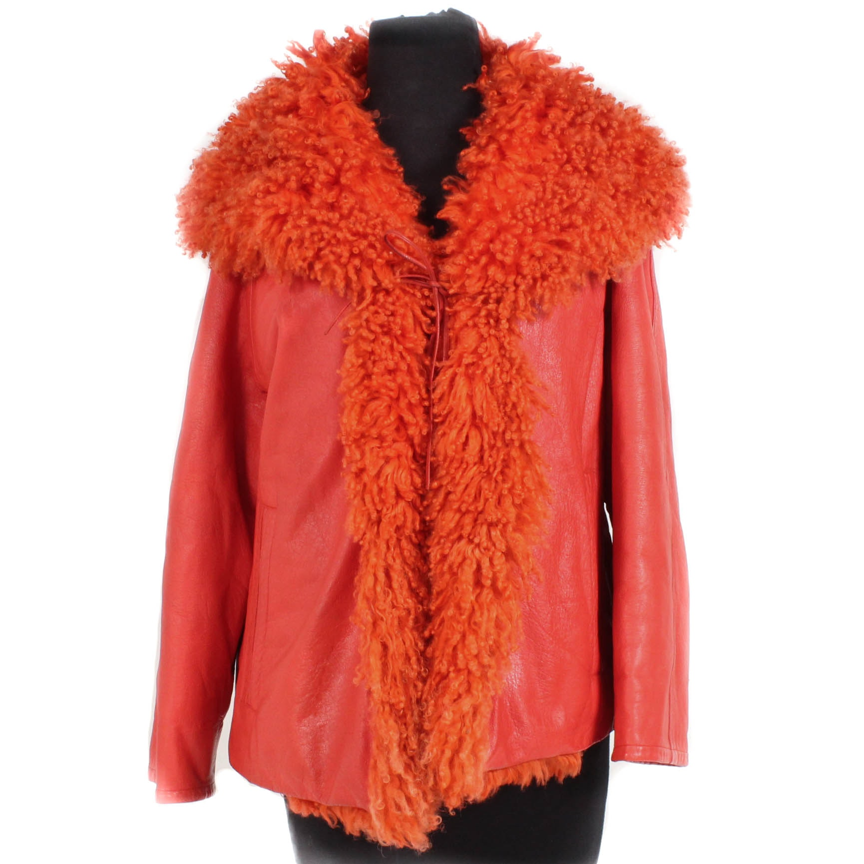 Vintage Bonnie Cashin Designs Orange Leather Mongolian Lamb Fur Jacket