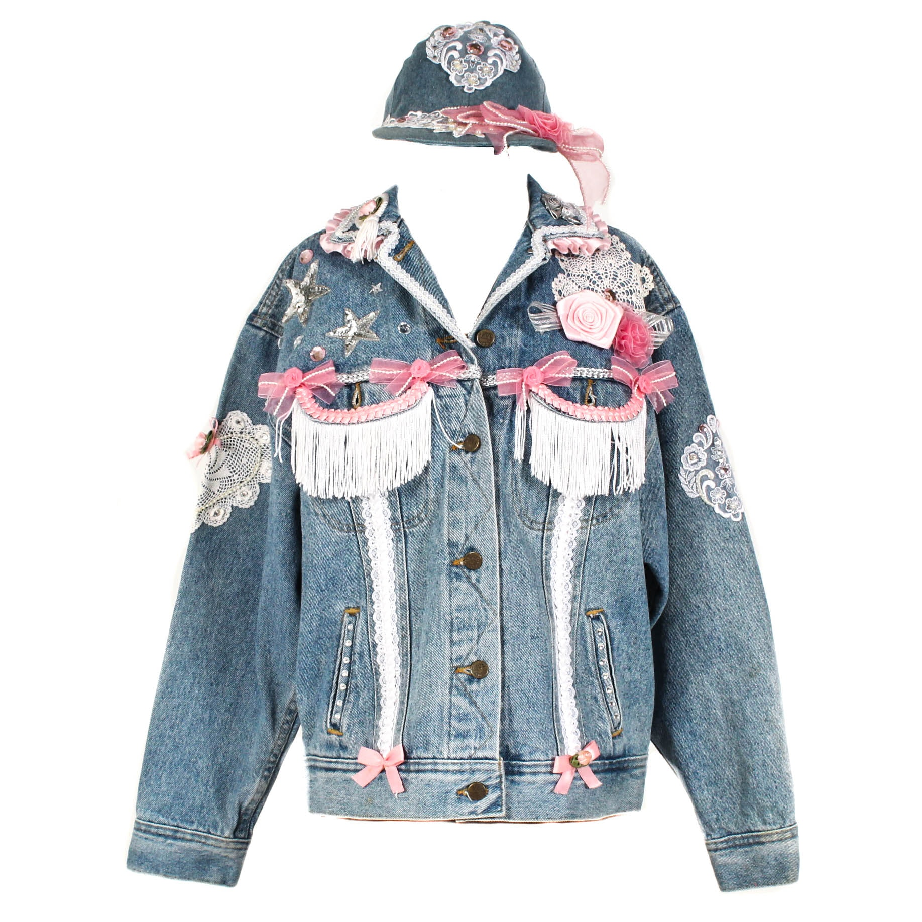 Vintage Bedazzled Denim Jacket with Hat