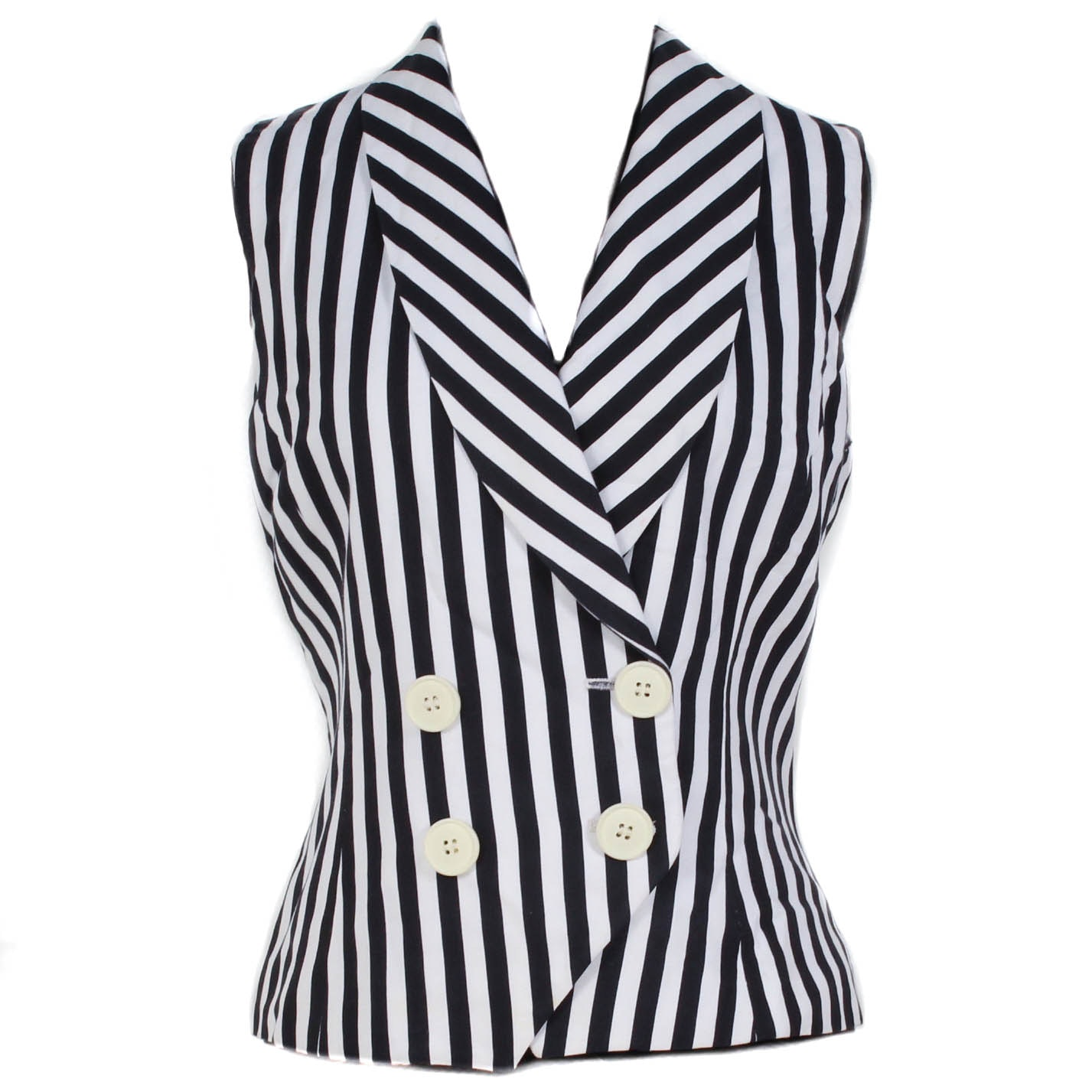 Christian Dior Black and White Striped Double-Breasted Vest