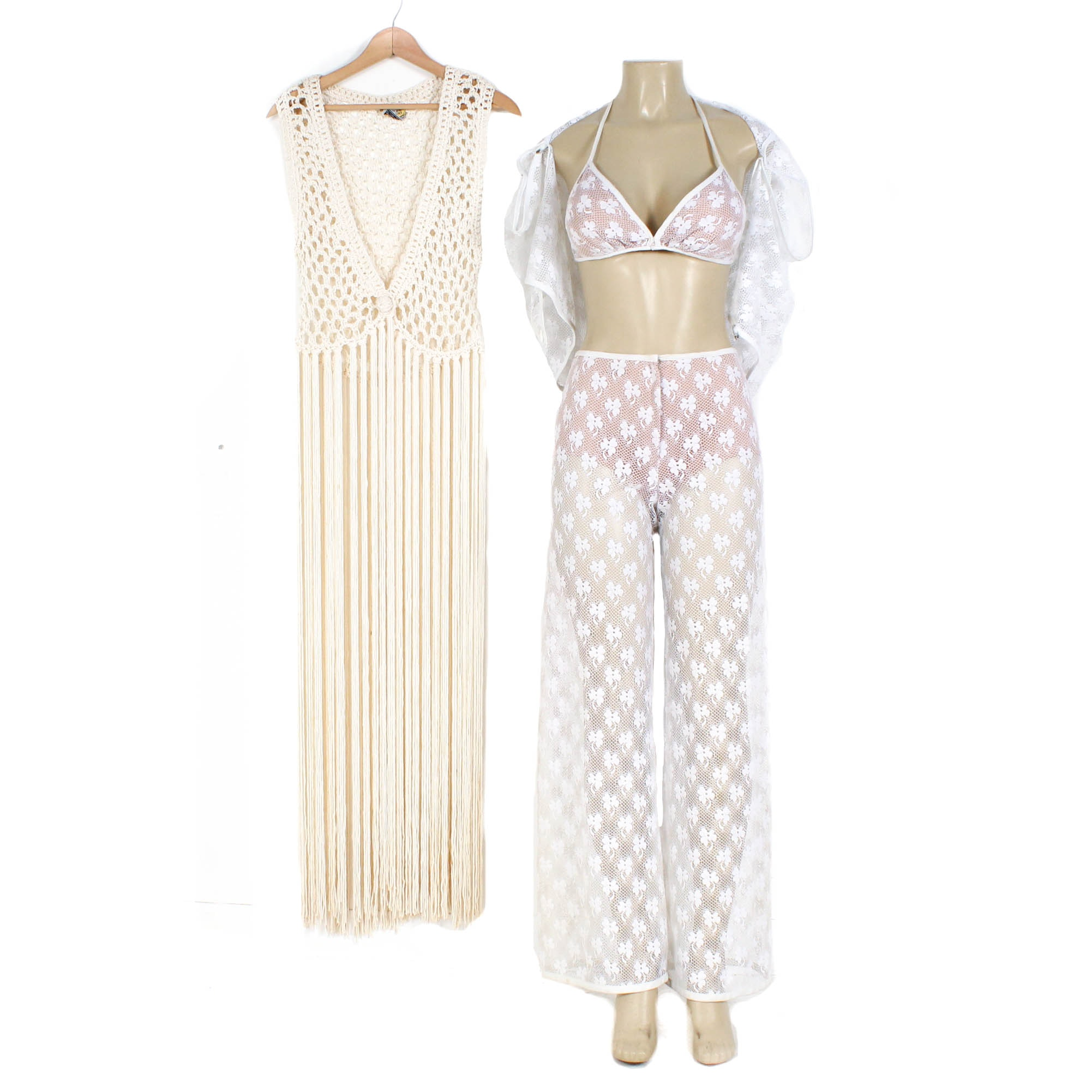 1970s Vintage Lace Bikini Top and Pants with Macramé Sleeveless Duster