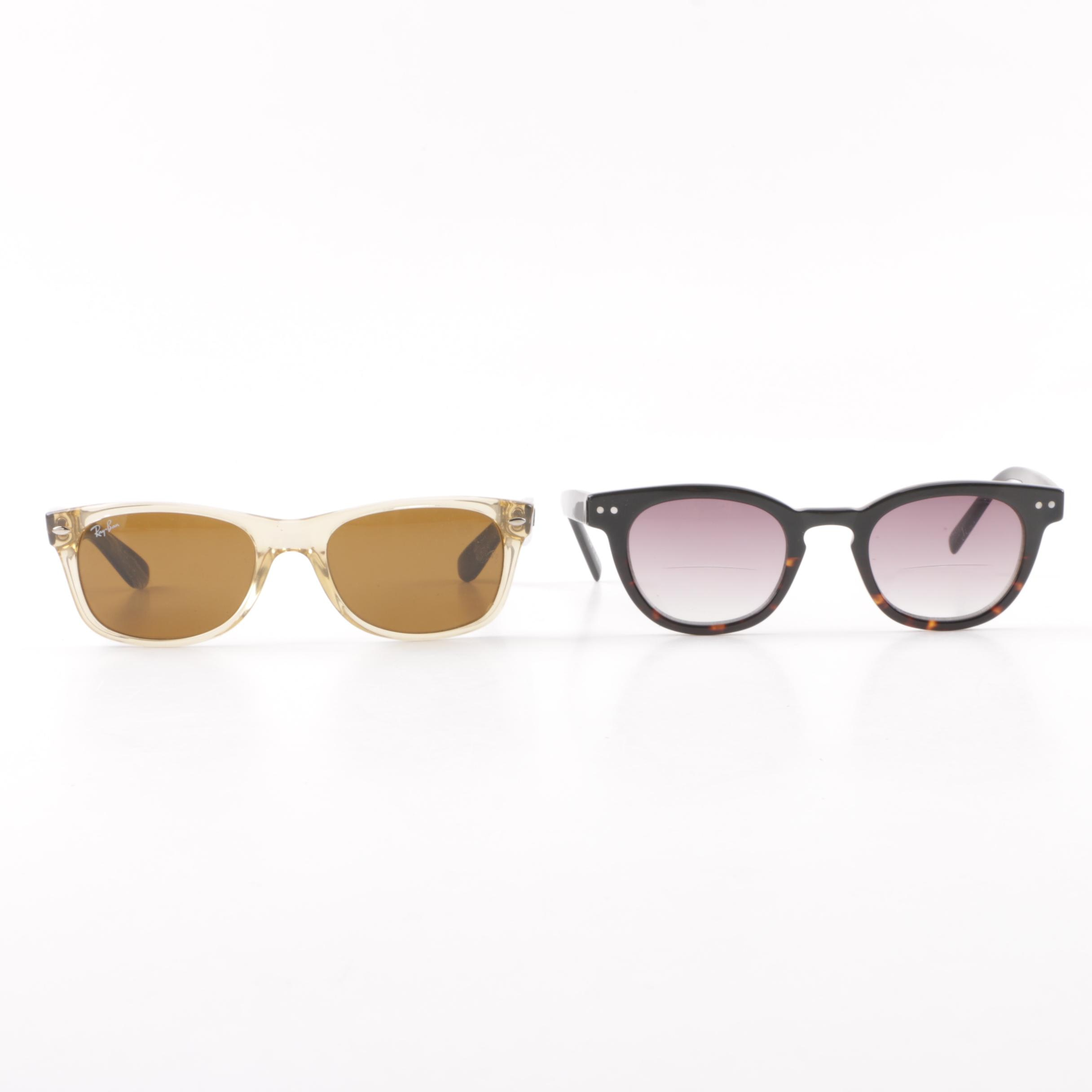 Ray-Ban RB 2132 Sunglasses and Eyebobs Waylaid Sun Prescription Sunglasses