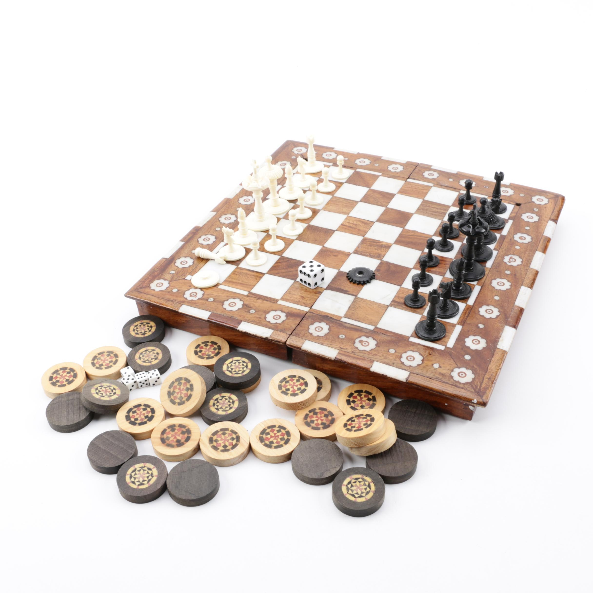 Wooden Chess and Checkers Board with Bone Inlay