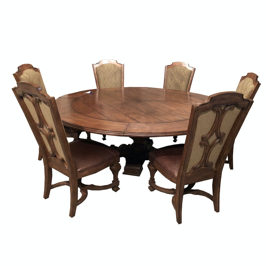 Contemporary Round Walnut Expandable Dining Table with Six Chairs by Stanley